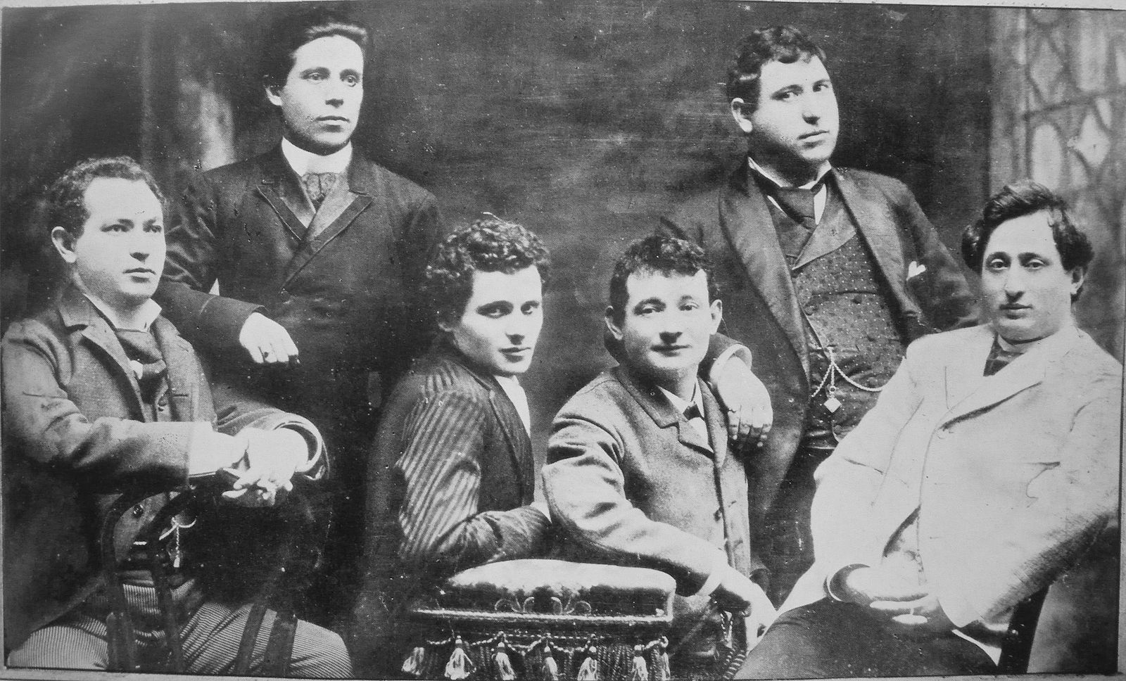 <b>Jacob Adler</b>     	</br>Yiddish theater actors and personalities: from left to right: Jacob P. Adler, Zigmund Feinman, Zigmund Mogulesko, Rudolf Marx, Mr. Krastoshinsky and David Kessler</br><br/><b>Source: </b><i>Public Domain. https://commons.wikimedia.org/wiki/File:David-Kessler_Krastoshinsky_Rudolf-Marx_Zigmund-Mogulesko_Zigmund-Feinman_Jacob-P-Adler-1888.jpg</i>