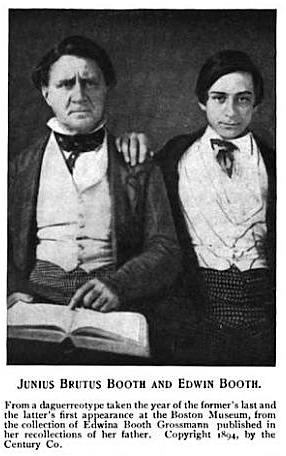 <b>Young Edwin Booth</b>     	</br>A young Edwin Booth sitting with his father Junius Brutus Booth.</br><br/><b>Source: </b><i>Public Domain. https://commons.wikimedia.org/wiki/File:1894_JuniusBrutusBooth_EdwinBooth_BostonMuseum.png</i>