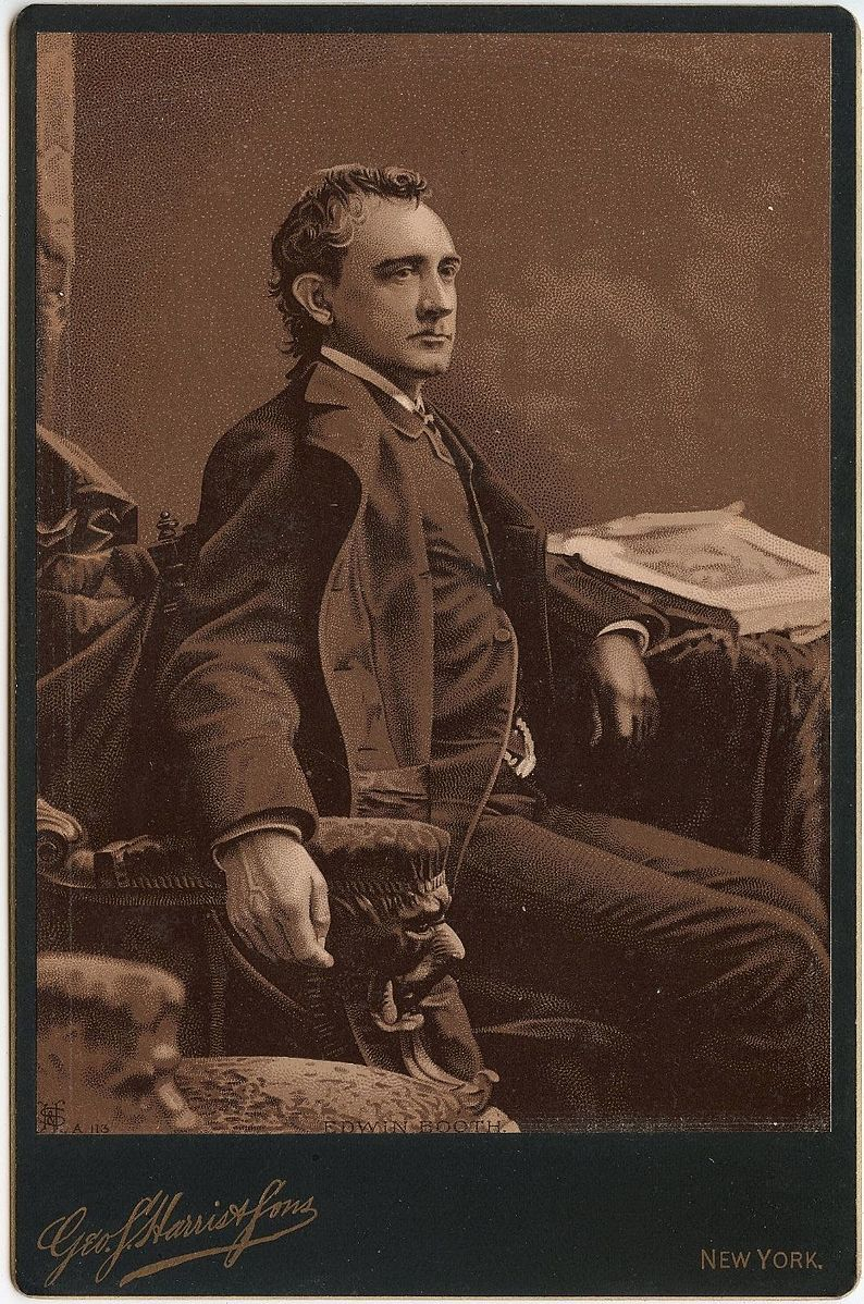 <b>Edwin Booth</b>     	</br>Cabinet card of Edwin Booth from Geo. Harris &amp; Sons, NY.</br><br/><b>Source: </b><i>Public Domain. https://commons.wikimedia.org/wiki/File:Edwin_Booth_by_Harris_%26_Sons_NY.JPG</i>