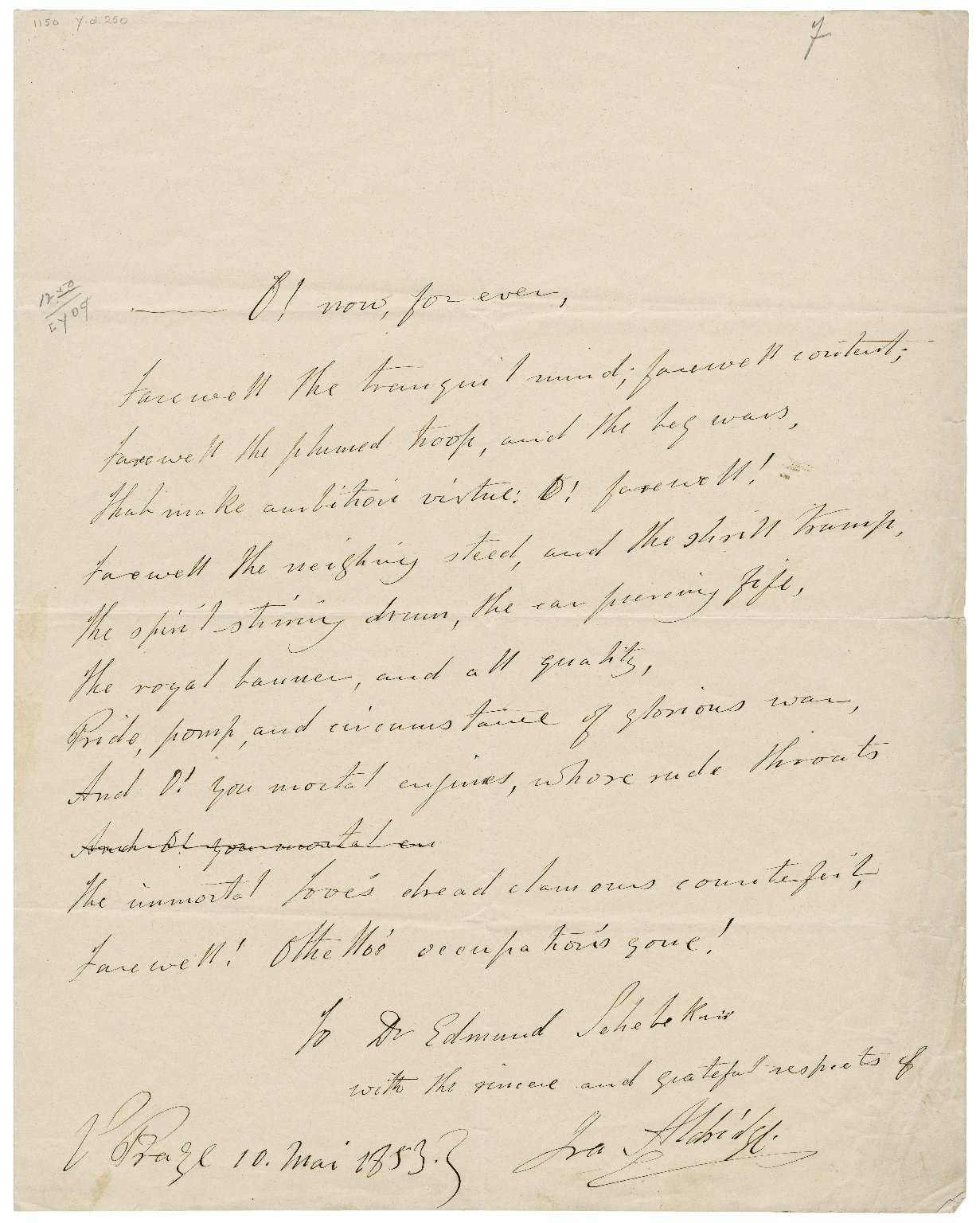 <b>Aldridge note, 1853</b>     	</br>An extract of Othello&#39;s dialogue in Act 3, Scene 3, lines 350-357 written out by Aldridge and addressed to Dr. Edmund Sehebekris probably after a performance on May 10, 1853 
