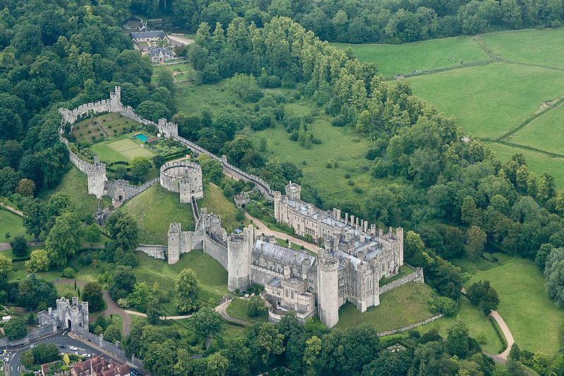 <b>Arundel Castle, 2011</b>     	</br>Bird&#39;s eye view of present-day Arundel Castle, Arundel, West Sussex, England, 2011</br><br/><b>Source: </b><i>Arundel Castle, West Sussex, England as seen from a light aircraft by Miles Sabin. Available under a Creative Commons Attribution Share-Alike 2.0 Generic License at http://en.wikipedia.org/wiki/File:Arundel_Castle_-West_Sussex,_England-23June2011.jpg</i>