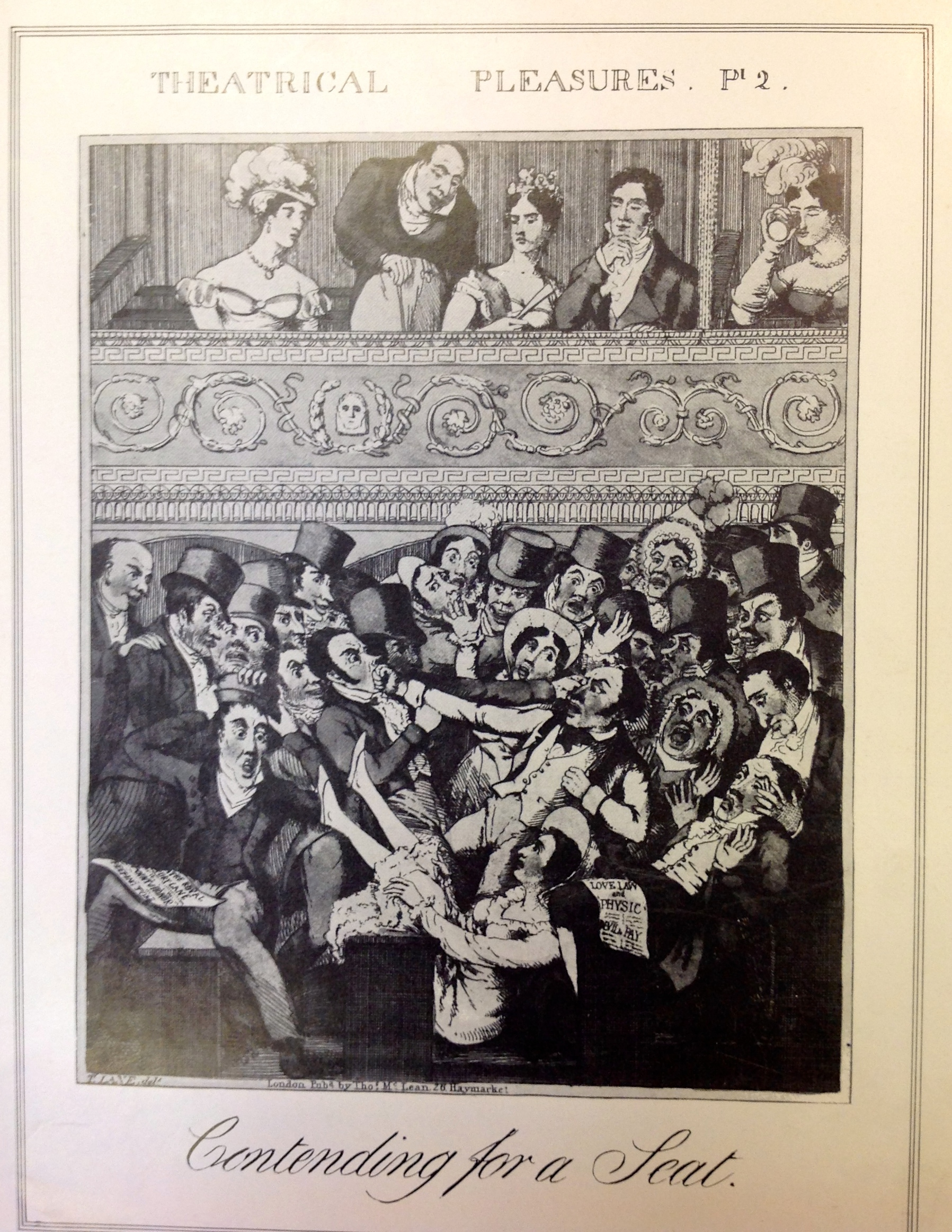 <b>Audience</b>     	</br>A comical depiction of audiences contending for a seat as wealthy patrons look on from their reserved boxes before a performance, published in Theatrical Pleasures.</br><br/><b>Source: </b><i>Used with permission from the University of Bristol Theatre Collection.</i>
