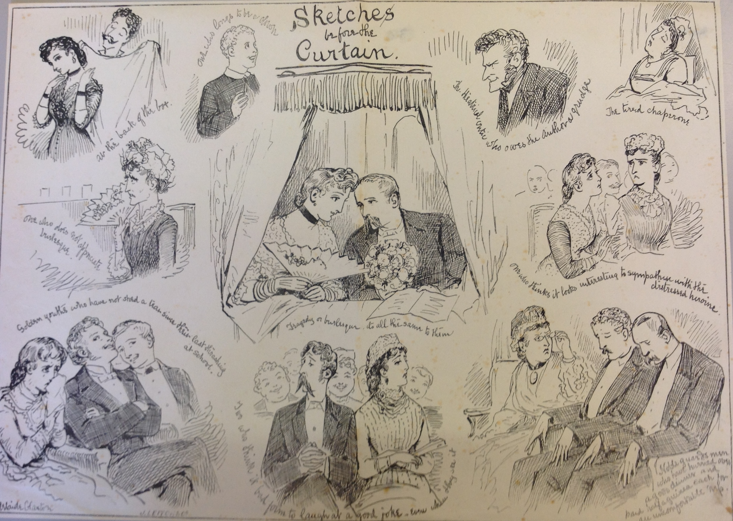 <b>Audience</b>     	</br>A depiction of the activities of a variety of audience members before the curtain.</br><br/><b>Source: </b><i>Used with permission from the University of Bristol Theatre Collection.</i>