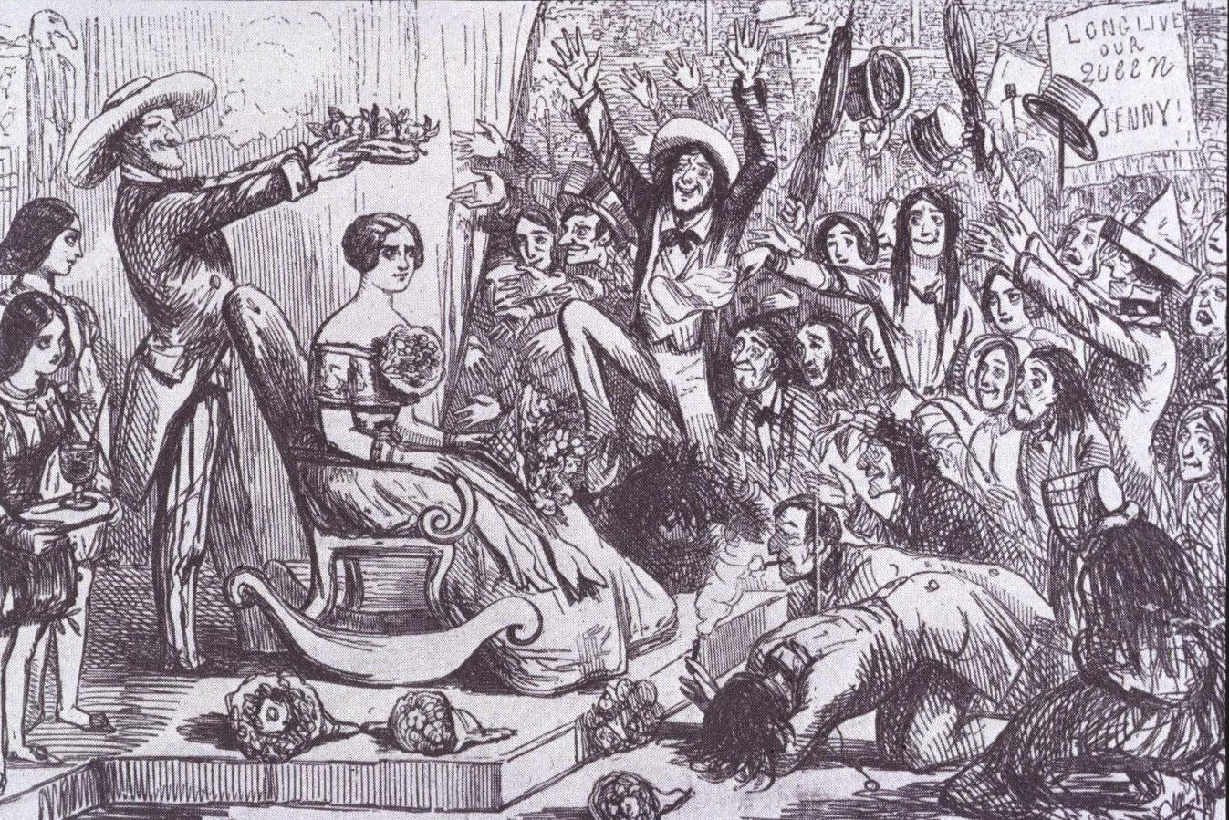 <b>Jenny Lind</b>     	</br>Caricature of Jenny Lind&#39;s first American tour for Phineas Taylor Barnum, New York City, October 1850</br><br/><b>Source: </b><i>Public Domain. https://commons.wikimedia.org/wiki/Jenny_Lind#/media/File:Barnum.jennylind.jpg</i>