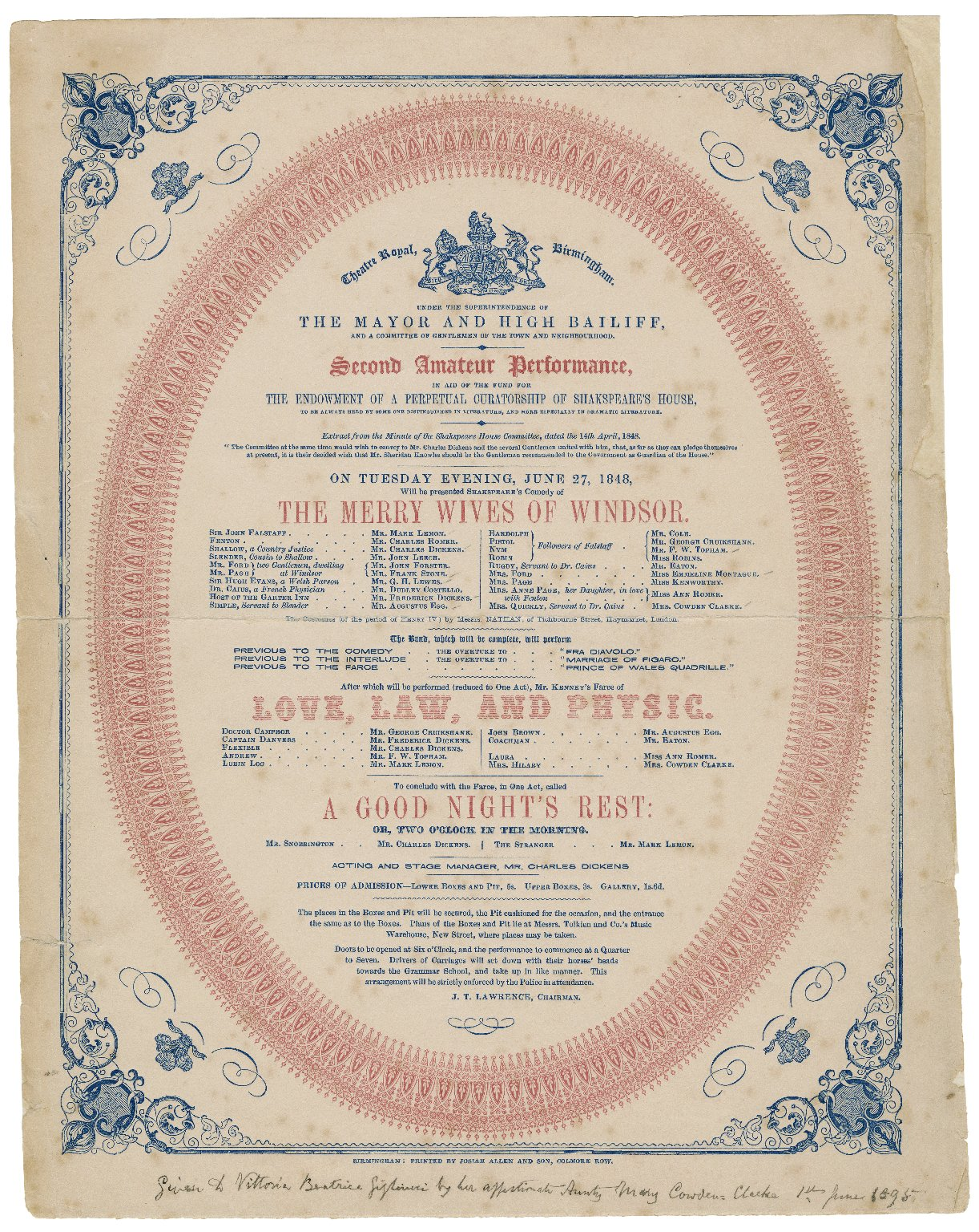 <b>Birmingham playbill, 1848</b>     	</br>A playbill from the Theatre Royal in Birmingham, England similar to the many playbills advertising Aldridge?s performances, 1848</br><br/><b>Source: </b><i>Theatre Royal, Birmingham [playbill] (Call number: PLAYBILL 265072), 1848, Folger Digital Image Collection, University of Cincinnati Libraries Digital Collections, University of Cincinnati, http://digproj.libraries.uc.edu:8180/luna/servlet/s/2ubost</i>