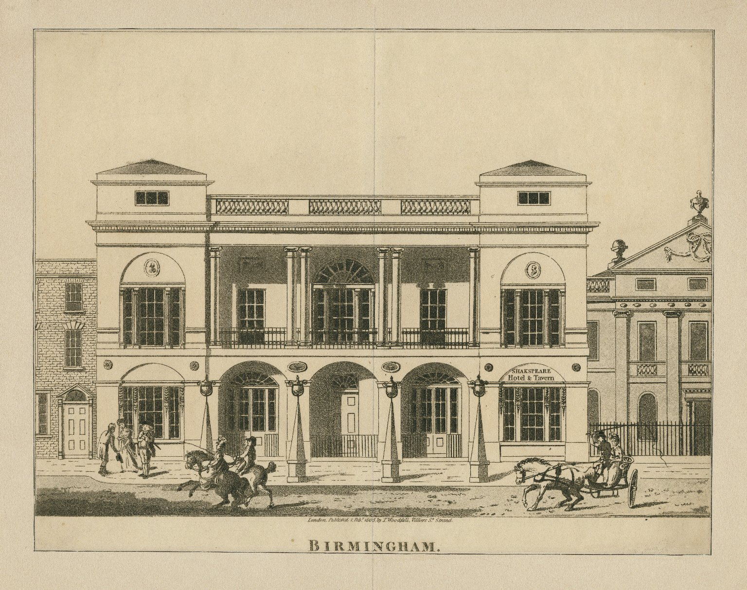 <b>Birmingham theatre, 1805</b>     	</br>Exterior of the Theatre Royal in Birmingham, England, 1805</br><br/><b>Source: </b><i>James Winston, Birmingham [theatre] (Call number: ART File B620 no.2 (size XS)), 1805, Folger Digital Image Collection, University of Cincinnati Libraries Digital Collections, University of Cincinnati, http://digproj.libraries.uc.edu:8180/luna/servlet/s/849koy</i>