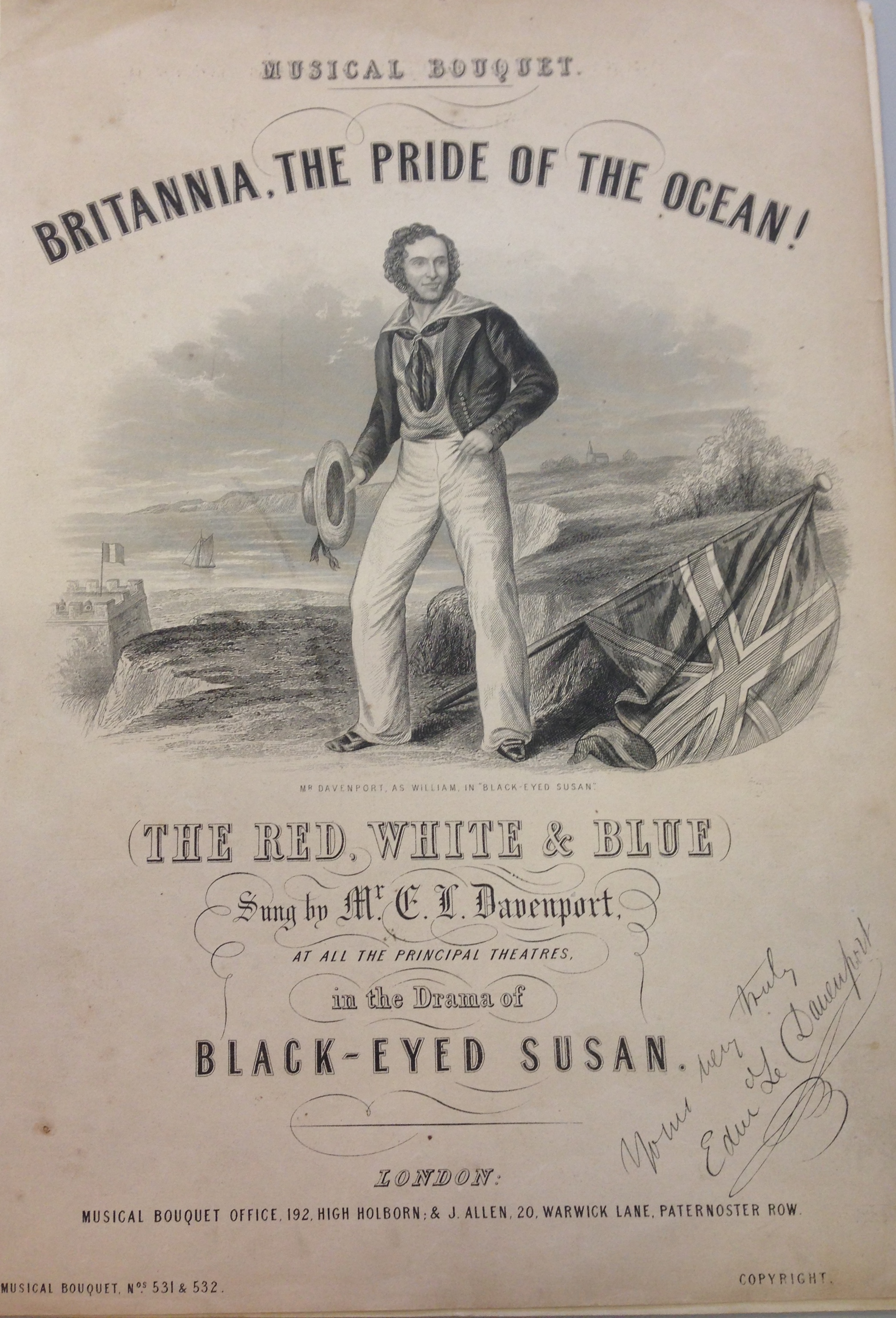 <b>Black Eyed</b>     	</br>An advertisement for Black Eyed Susan autographed by the actor who plays the main role of William, E.L. Davnenport.</br><br/><b>Source: </b><i>Used with permission from the University of Bristol Theatre Collection.</i>
