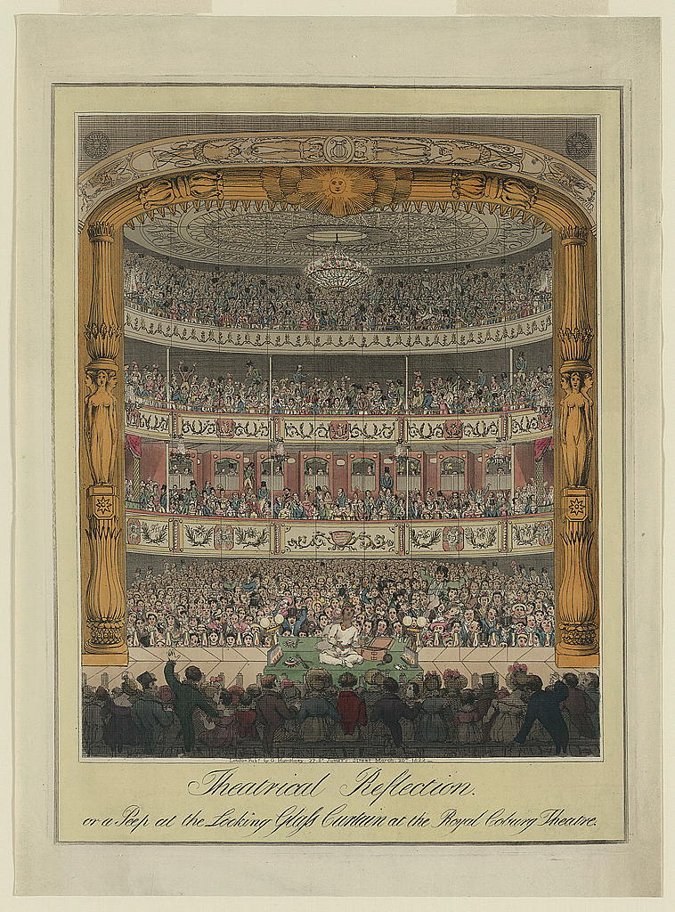 <b>Coburg Theater, 1822</b>     	</br>Interior of the Coburg Theater (also known as the Old Vic), London, 1822</br><br/><b>Source: </b><i>G. Humphrey, Theatrical reflection, or a peep at the looking glass curtain at the Royal Coburg Theatre (PC 3 - 1822 -Theatrical reflection), March 20, 1822, Library of Congress Prints and Photographs Division, Library of Congress, http://www.loc.gov/pictures/collection/cpbr/item/2005676992/</i>