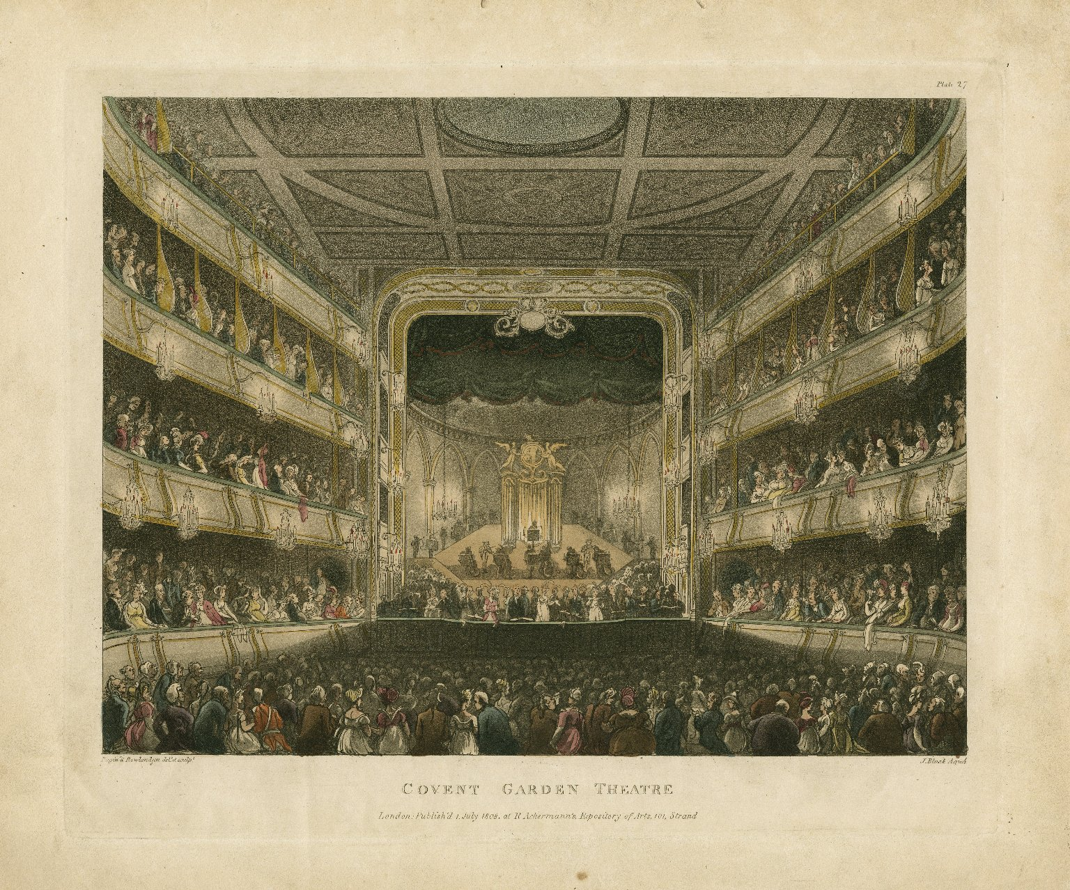 <b>Covent Garden, 1808</b>     	</br>Interior of the Covent Garden Theatre before it burned down in September 1808, London, July 1808</br><br/><b>Source: </b><i>Thomas Rowlandson, Covent Garden Theatre (Call number: ART File L847t1 C1 no.5), July 1808, Folger Digital Image Collection, University of Cincinnati Libraries Digital Collections, University of Cincinnati, http://digproj.libraries.uc.edu:8180/luna/servlet/s/n9ep4u</i>