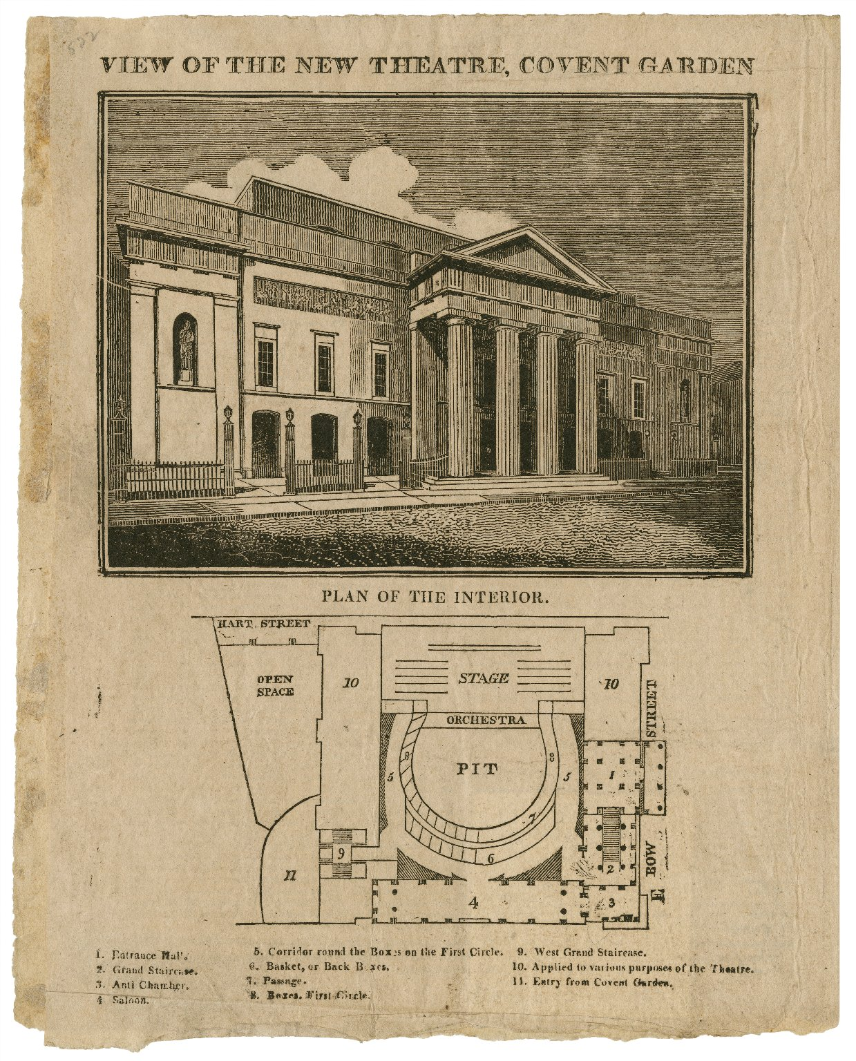 <b>Covent Garden, circa 1809</b>     	</br>Exterior and plan of the interior of the new Covent Garden Theatre after it burned down in September 1808, London, c.a. 1809</br><br/><b>Source: </b><i>View of the new theatre, Covent Garden [and] plan of the interior (Call number: ART File L847t1 C1 no.7), [1809?], Folger Digital Image Collection, University of Cincinnati Libraries Digital Collections, University of Cincinnati, http://digproj.libraries.uc.edu:8180/luna/servlet/s/mpd0q3</i>