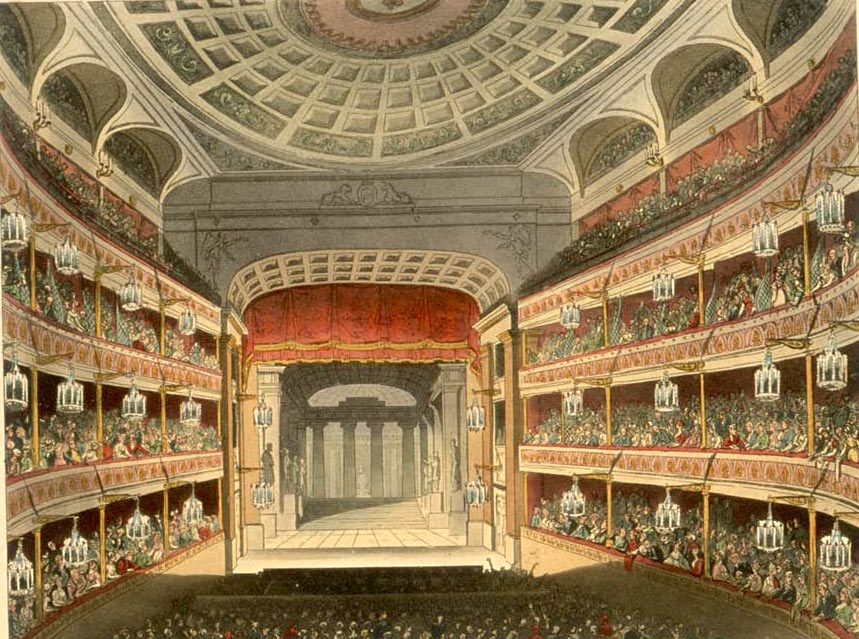 <b>Covent Garden, 1810</b>     	</br>Interior of the new Covent Garden Theatre after it reopened in September 1809, London, 1810</br><br/><b>Source: </b><i>[The Theatre Royal, Covent Garden] from Rudolf Ackermann, Microcosm of London, 1810, (Reprint, London: Methuen &amp; company, 1904), Plate 100, http://en.wikipedia.org/wiki/File:New_Covent_Garden_Theatre_Microcosm_edited.jpg</i>