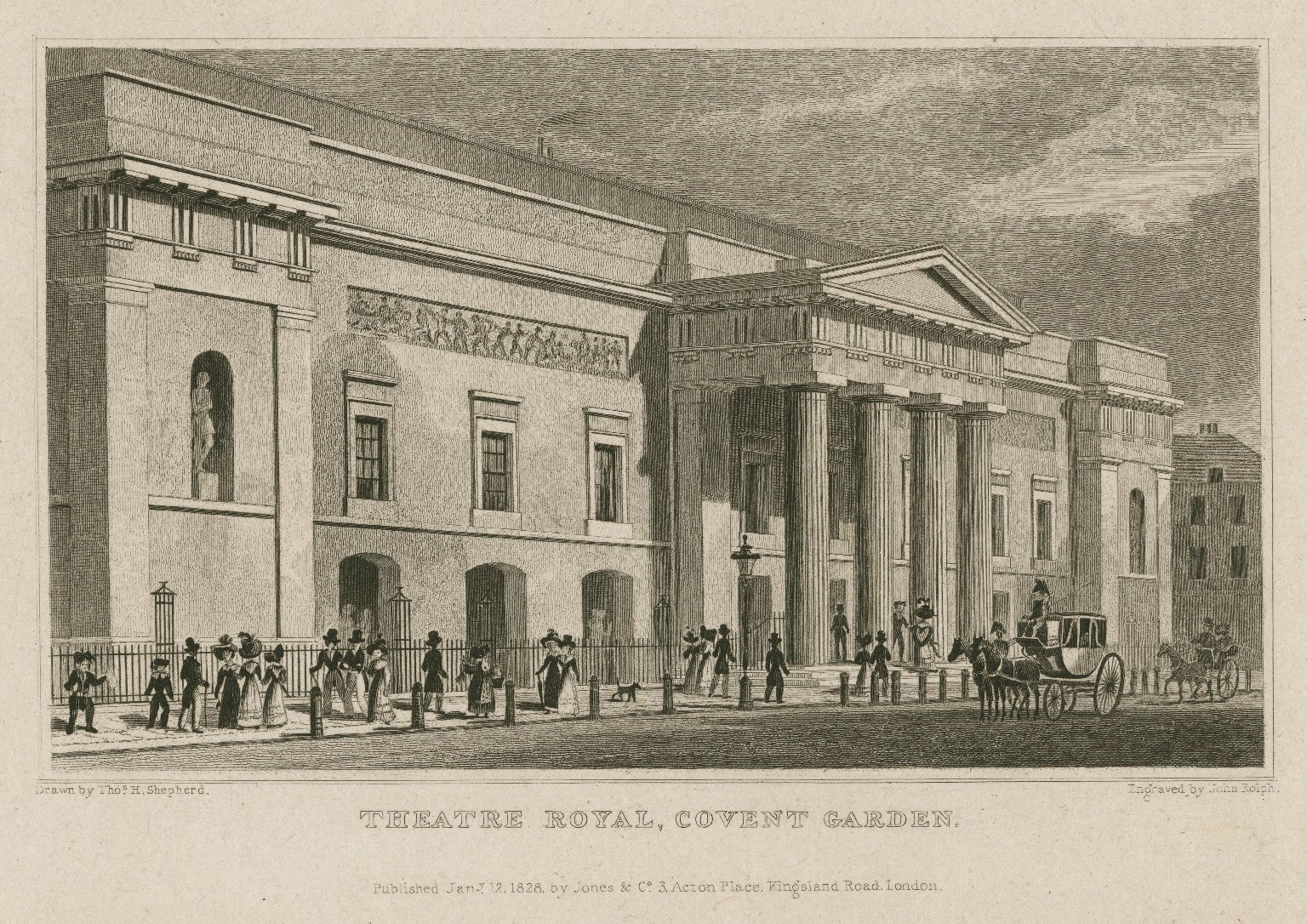 <b>Covent Garden, 1828</b>     	</br>Exterior of the new Covent Garden after it reopened in September 1809, London, January 1828</br><br/><b>Source: </b><i>Thomas H. Shepard, Theatre Royal, Covent Garden (Call number: ART File L847t1 C1 no.1), January 12, 1828, Folger Digital Image Collection, University of Cincinnati Libraries Digital Collections, University of Cincinnati, http://digproj.libraries.uc.edu:8180/luna/servlet/s/2q2chh</i>