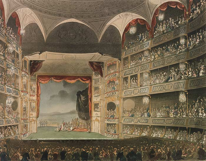 <b>Drury Lane, 1808</b>     	</br>Interior of Theatre Royal, Dury Lane, London, c.a. 1808</br><br/><b>Source: </b><i>[Drury Lane interior] from Rudolf Ackermann, Microcosm of London, 1810, (Reprint, London: Methuen &amp; company, 1904), Plate 32, Wikipedia, http://en.wikipedia.org/wiki/File:Drury_lane_interior_1808.jpg</i>