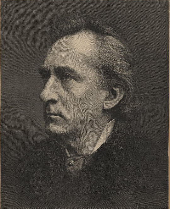 <b>Edwin Booth</b>     	</br>Wood engraving print of Edwin Booth, late 19th century.</br><br/><b>Source: </b><i>Public Domain. Folger Shakespeare Library Digital Image Collection http://luna.folger.edu/luna/servlet/s/0t10p0</i>