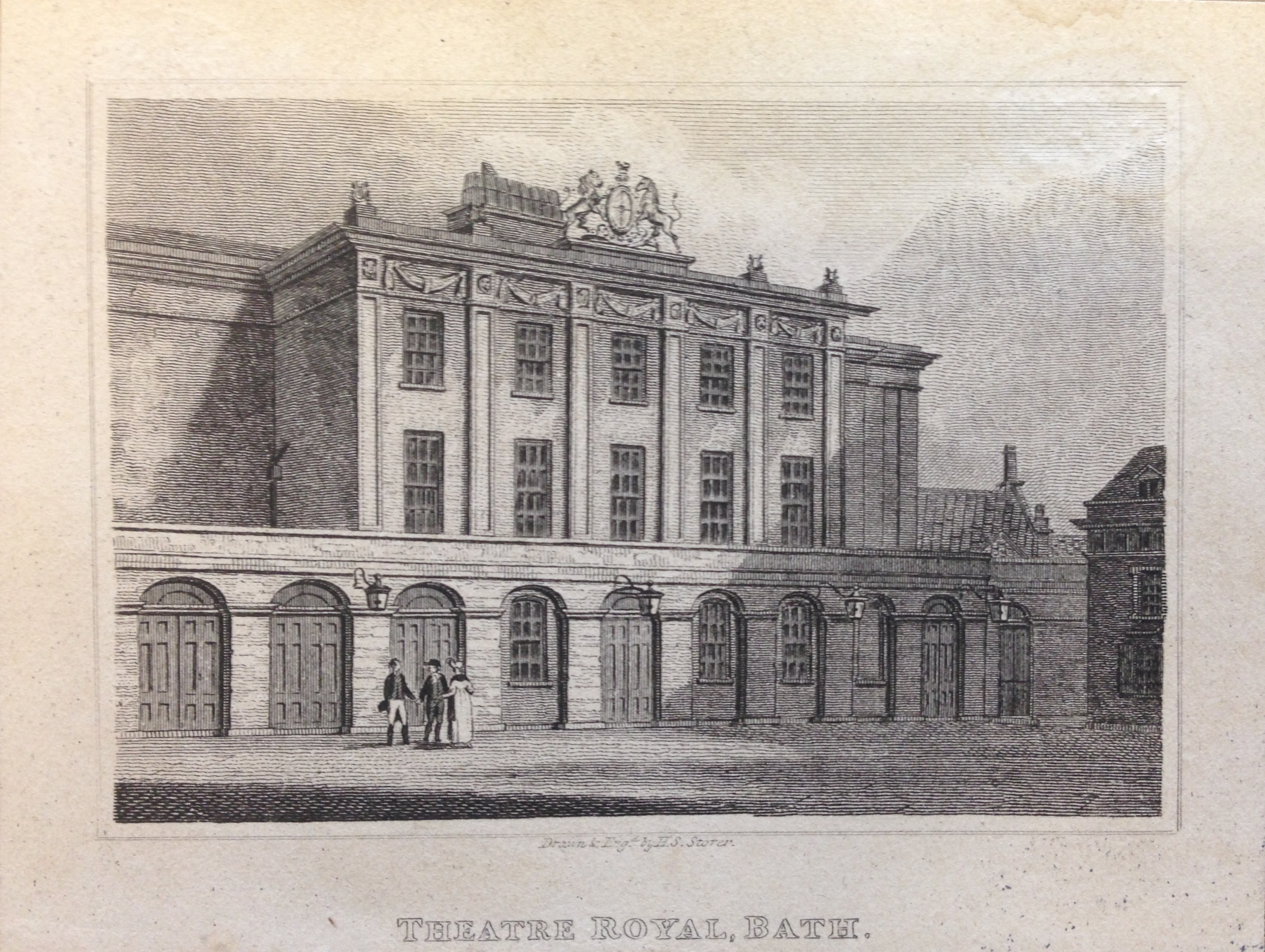 <b>Exterior of Theatre Royal, Bath</b>     	</br>Exterior of the Theatre Royal in Bath, c. 19th century.</br><br/><b>Source: </b><i>Used with permission from the University of Bristol Theatre Collection.</i>