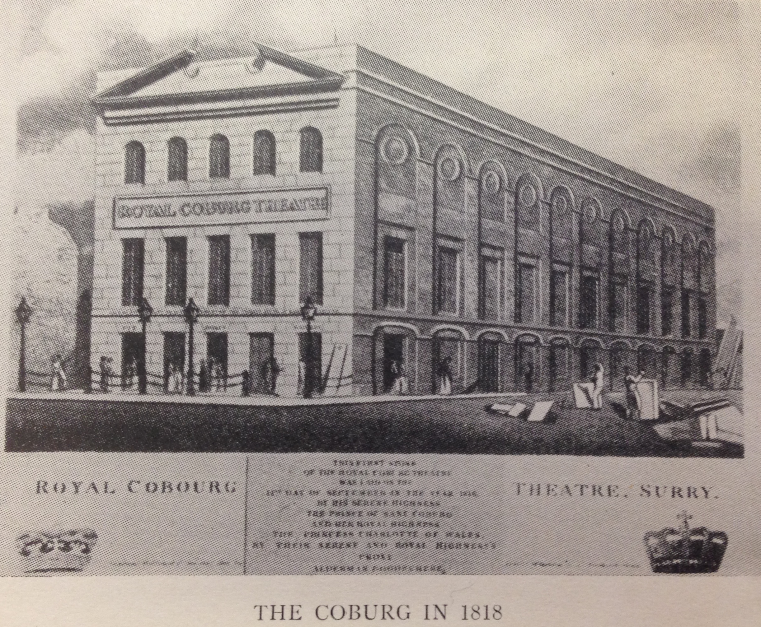 <b>Exterior of Royal Coburg</b>     	</br>Exterior of the Royal Coburg Theatre (also known as the Old Vic), London, 1818.</br><br/><b>Source: </b><i>Used with permission from the University of Bristol Theatre Collection.</i>