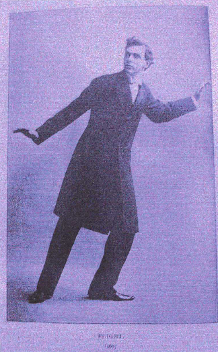 <b>Flight Gesture</b>     	</br>Developed in the 19th century, systems of rhetorical gestures influenced the acting styles of melodramatic performers. This interpretation of flight comes from the Deslarte system of expression created by François Delsarte.</br><br/><b>Source: </b><i>Flight in John Wesley Hanson Jr. The Popular Entertainer and Self-Instructor in Elocution (Chicago: Conkey 1898) from Oratorical Gestures Room 26 Cabinet of Curiosities blog April 11 2008 Beinecke Rare Book and Manuscript Library Yale University http://beinecke.library.yale.edu/about/blogs/room-26-cabinet-curiosities/2008/04/11/oratorical-gestures</i>