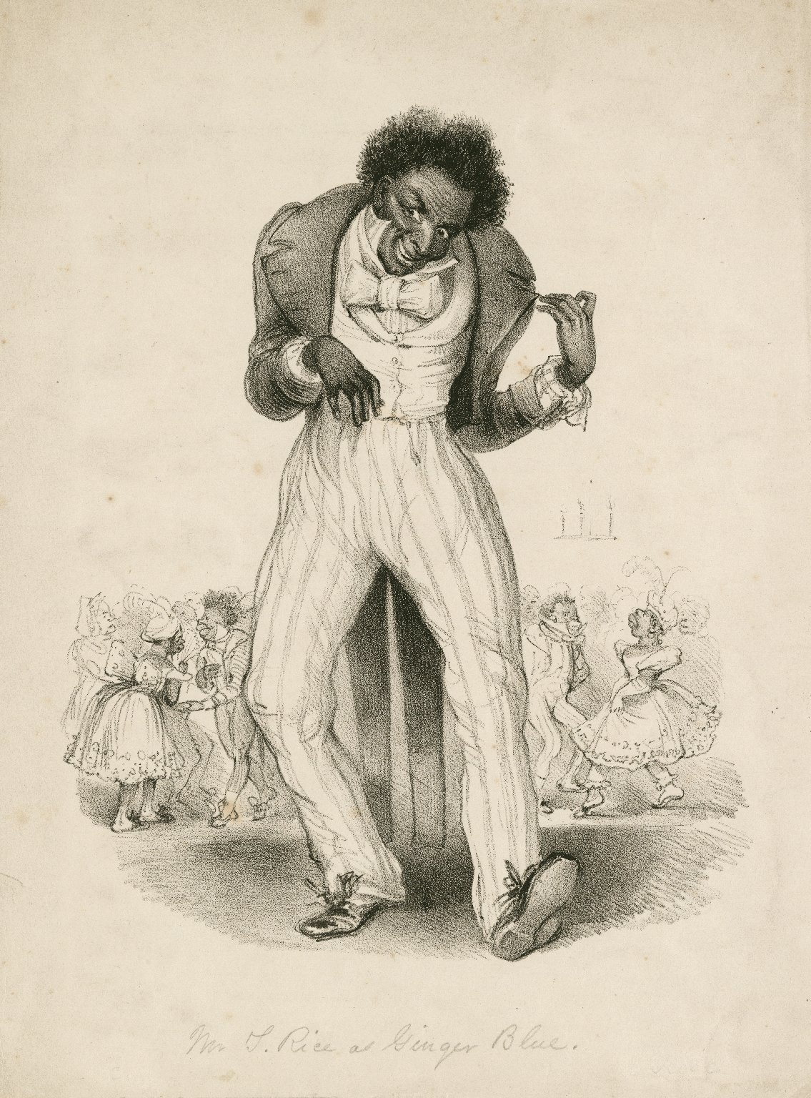 <b>Ginger Blue</b>     	</br>Playwright/Actor Thomas Rice as Ginger Blue in The Virginia Mummy, 19th century</br><br/><b>Source: </b><i>Mr. T. Rice as Ginger Blue (Call number: ART File R497.6 no.1), [19th century], Folger Digital Image Collection, University of Cincinnati Libraries Digital Collections, University of Cincinnati, http://digproj.libraries.uc.edu:8180/luna/servlet/s/au32tc</i>