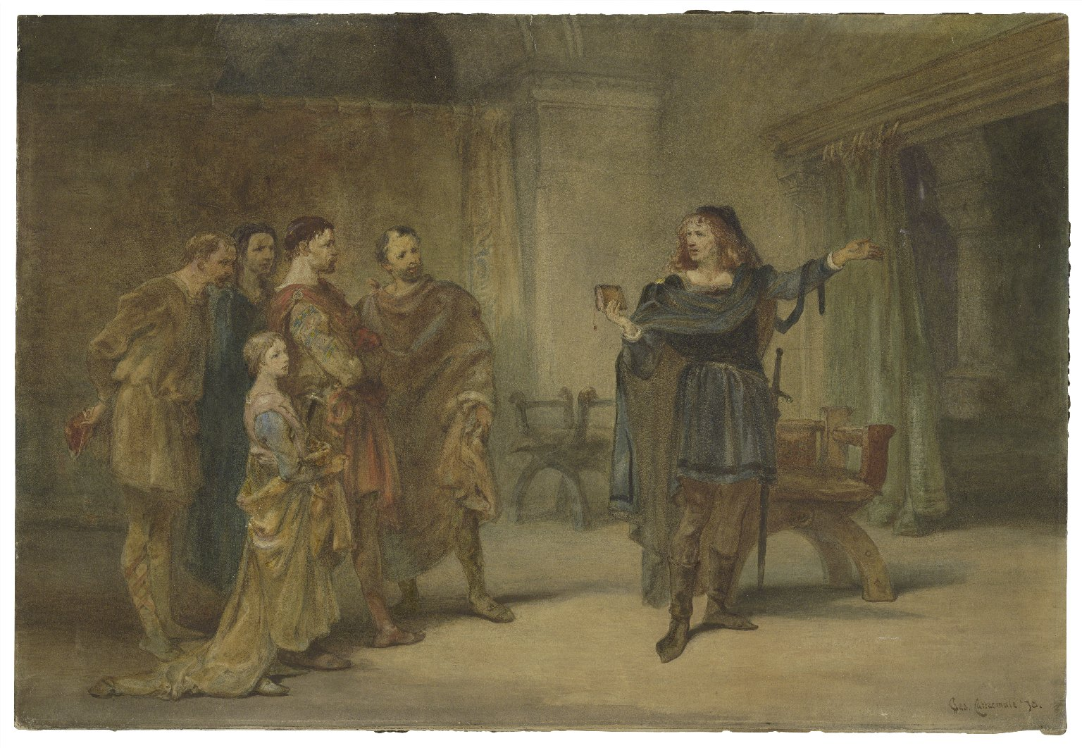 <b>Hamlet, 1878</b>     	</br>A painting of Hamlet, Act III, Scene II, 1878</br><br/><b>Source: </b><i>Charles Cattermole, Hamlet and the players (Call number: ART Box C368.5 no.3), 1878, Folger Digital Image Collection, University of Cincinnati Libraries Digital Collections, University of Cincinnati, http://digproj.libraries.uc.edu:8180/luna/servlet/s/gny1r4</i>