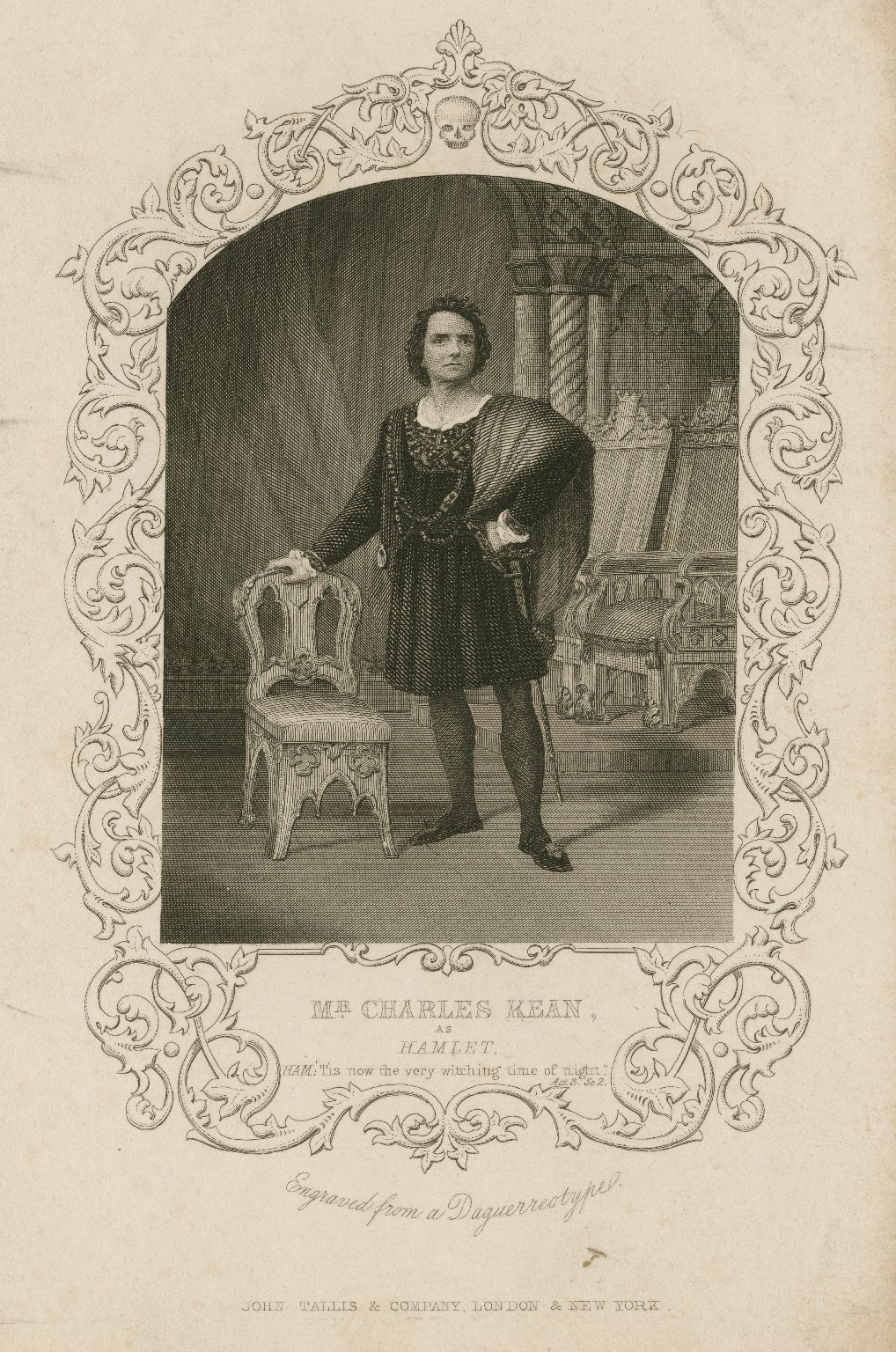 <b>Hamlet</b>     	</br>Actor Charles Kean, son of Edmund Kean, as Hamlet, mid-19th century</br><br/><b>Source: </b><i>Mr. Charles Kean as Hamlet (Call number: ART File K24 no.2 copy 1), [mid-19th century], Folger Digital Image Collection, University of Cincinnati Libraries Digital Collections, University of Cincinnati, http://digproj.libraries.uc.edu:8180/luna/servlet/s/rl150m</i>