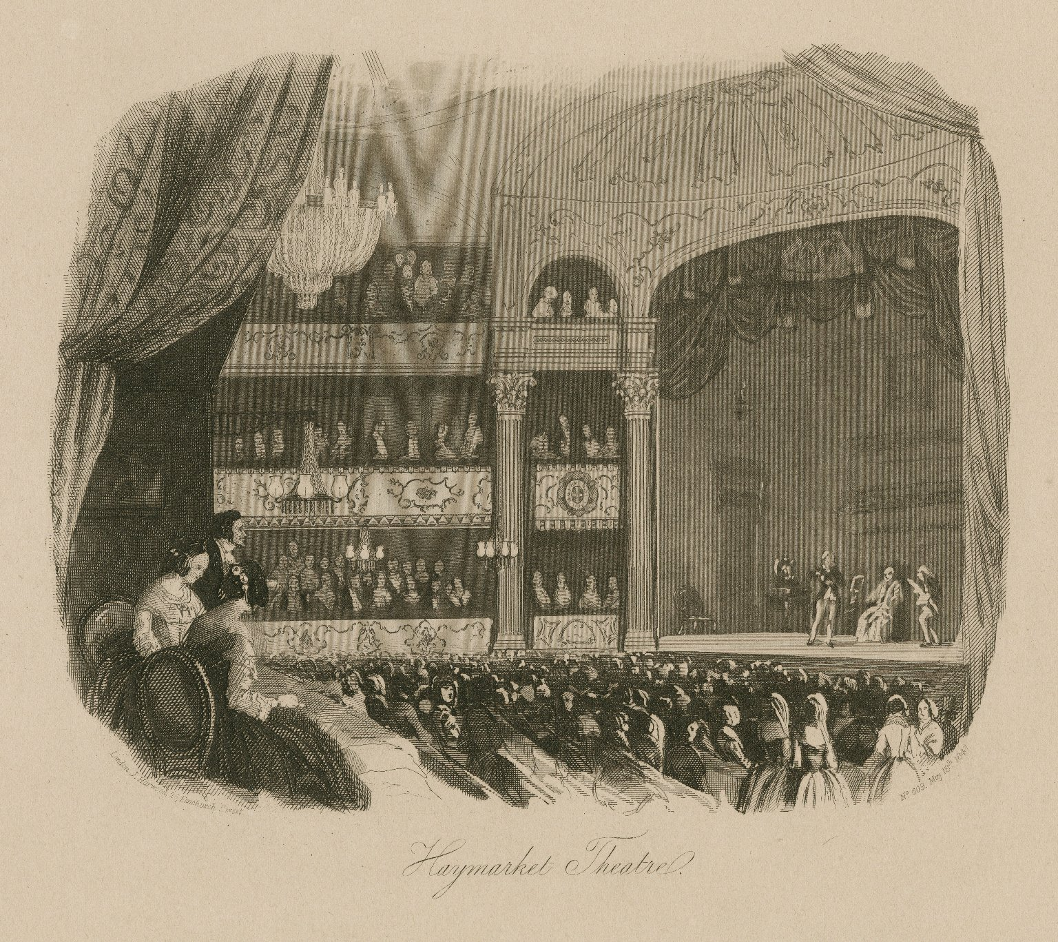 <b>Haymarket Theatre, 1847</b>     	</br>Interior of Haymarket Theatre, London, 1847</br><br/><b>Source: </b><i>Haymarket Theatre (Call number: ART File L847t1 H1 no.3), 1847, Folger Digital Image Collection, University of Cincinnati Libraries Digital Collections, University of Cincinnati, http://digproj.libraries.uc.edu:8180/luna/servlet/s/5ldg9m</i>