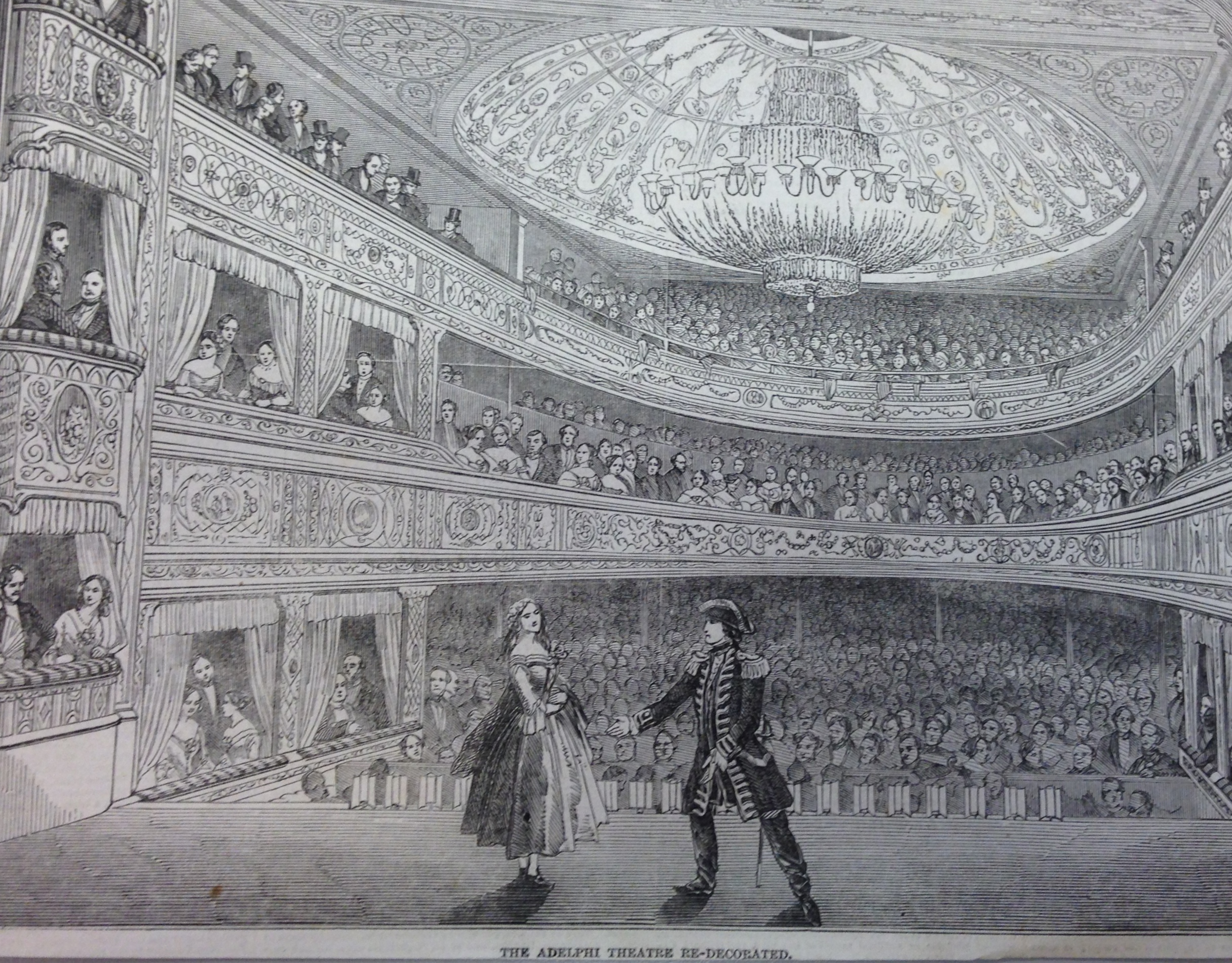 <b>Interior of Adelphi Theatre</b>     	</br>Interior of the Adelphi Theatre (previously called the Sans Pareil), London, 1848.</br><br/><b>Source: </b><i>Used with permission from the University of Bristol Theatre Collection.</i>