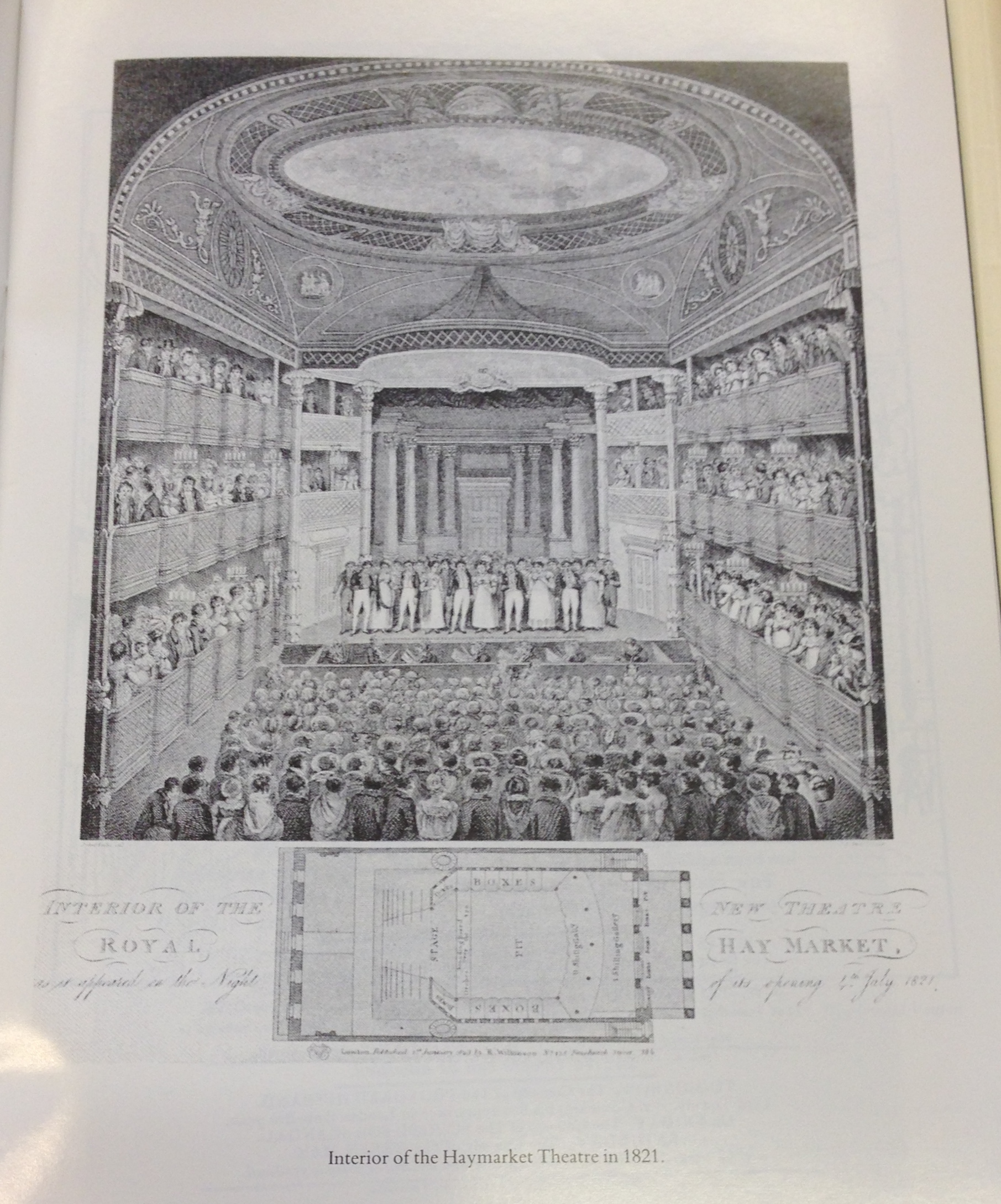 <b>Interior of Haymarket Theatre</b>     	</br>Interior of the Royal Haymarket Theatre, London depicted the night of its opening in July 1821.</br><br/><b>Source: </b><i>Used with permission from the University of Bristol Theatre Collection.</i>