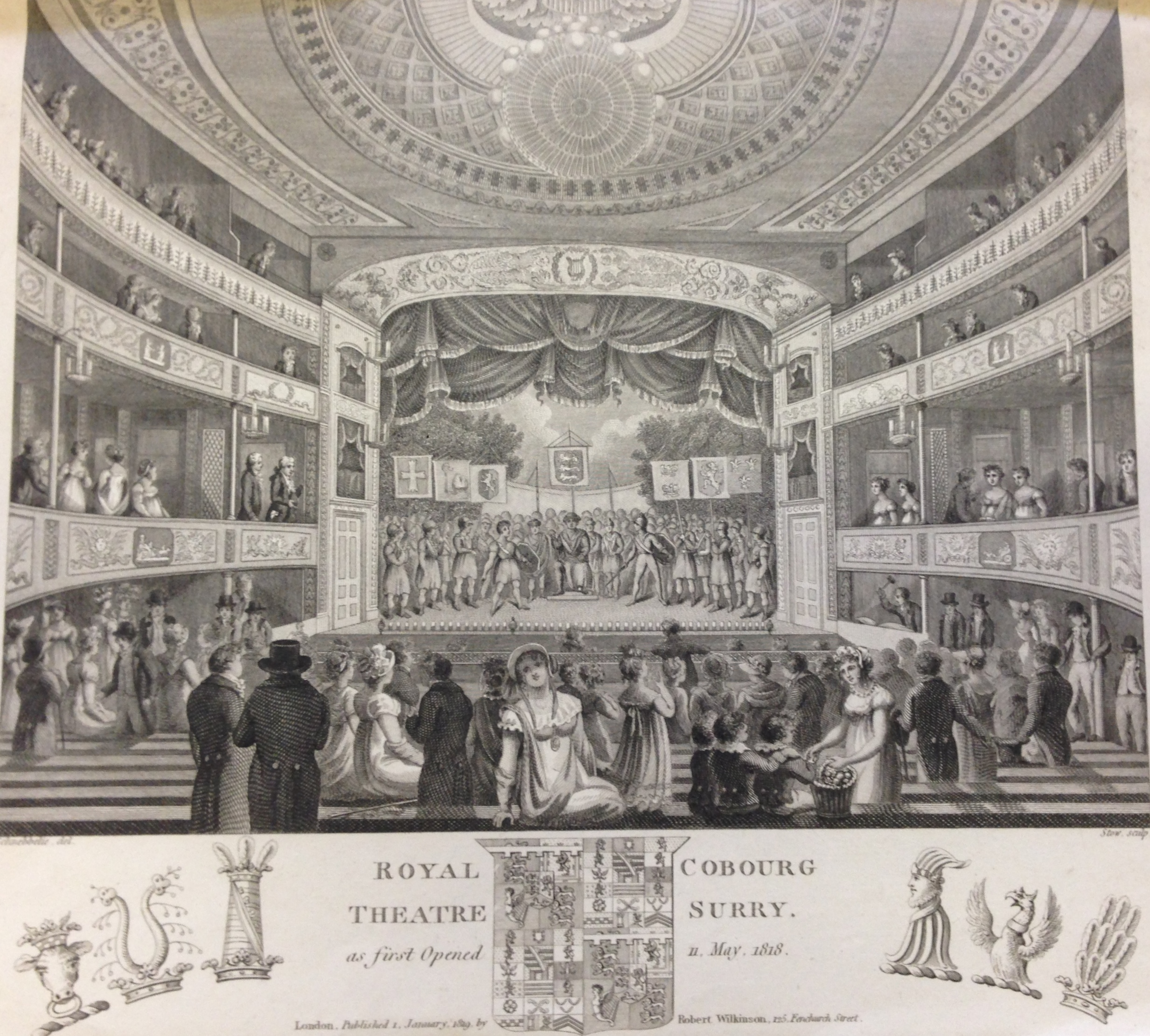 <b>Interior of Royal Coburg, 1819</b>     	</br>Interior of the Royal Coburg Theatre (also known as the Old Vic), London, 1819.</br><br/><b>Source: </b><i>Used with permission from the University of Bristol Theatre Collection.</i>