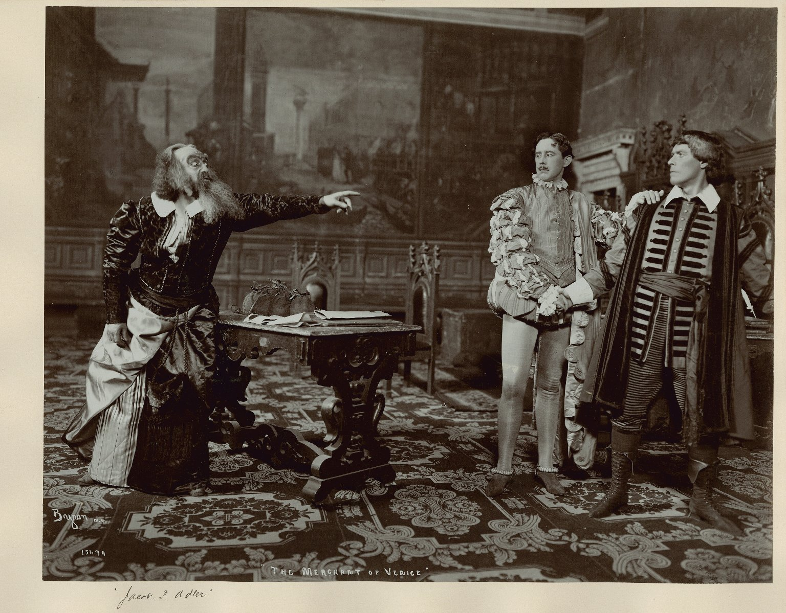 <b>Jacob Adler</b>     	</br>Jacob Adler as Shylock in a late 19th century performance of Shakespeare&#39;s Merchant of Venice.</br><br/><b>Source: </b><i>Public Domain. Folger Shakespeare Library Digital Image Collection http://luna.folger.edu/luna/servlet/s/y194rs