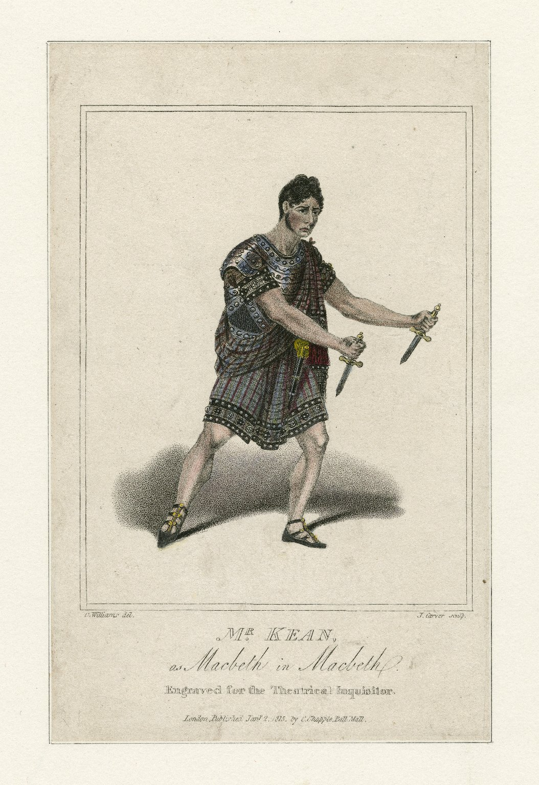 <b>Macbeth, 1815</b>     	</br>Actor Edmund Kean as Macbeth, January 1815</br><br/><b>Source: </b><i>J. Carver, Mr. Kean, as Macbeth in Macbeth (Call number: ART File K24.4 no.92), January 2, 1815, Folger Digital Image Collection, University of Cincinnati Libraries Digital Collections, University of Cincinnati, http://digproj.libraries.uc.edu:8180/luna/servlet/s/tnjep4</i>