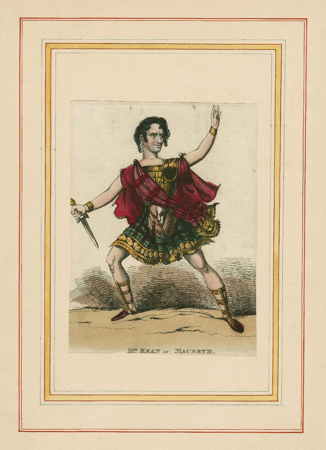 <b>Macbeth, 1822</b>     	</br>Actor Edmund Kean as Macbeth, 1822</br><br/><b>Source: </b><i>Mr. Kean as Macbeth (Call number: ART File K24.4 no.83), 1822, Folger Digital Image Collection, University of Cincinnati Libraries Digital Collections, University of Cincinnati, http://digproj.libraries.uc.edu:8180/luna/servlet/s/g39vi3</i>