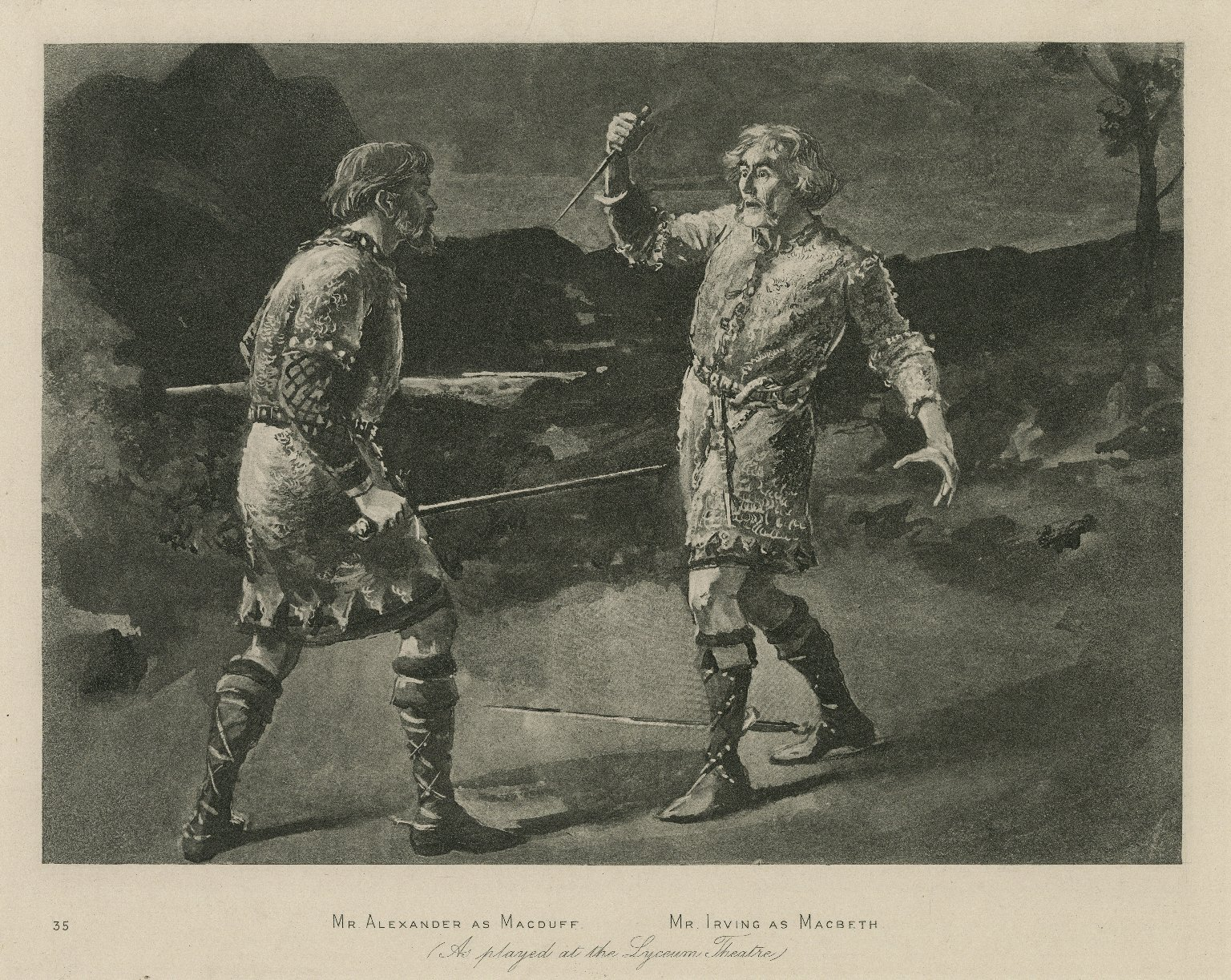 <b>Macbeth</b>     	</br>A scene from Macbeth at the Lyceum Theatre, mid to late 19th century</br><br/><b>Source: </b><i>Mr. Alexander as Macduff, Mr. Irving as Macbeth (Call number: ART File I72 no.7), Folger Digital Image Collection, University of Cincinnati Libraries Digital Collections, University of Cincinnati, http://digproj.libraries.uc.edu:8180/luna/servlet/s/f5qxl5</i>