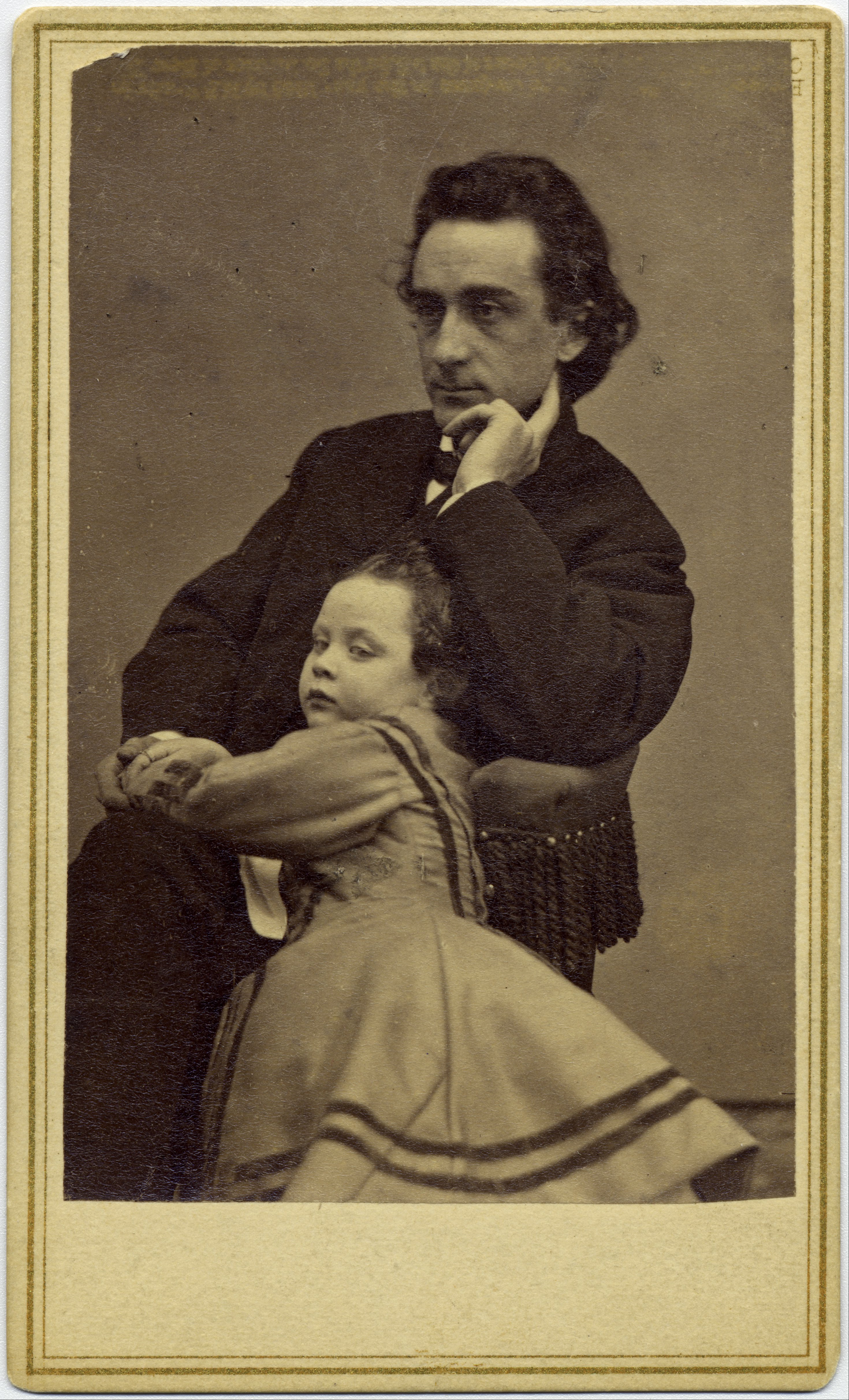 <b>Edwin Booth</b>     	</br>Edwin Booth and his daughter Edwina, 1863/1865.</br><br/><b>Source: </b><i>Public domain. https://commons.wikimedia.org/wiki/File:Mathew_B._Brady_-_Edwin_Booth_and_his_daughter_Edwina_-_Google_Art_Project.jpg</i>