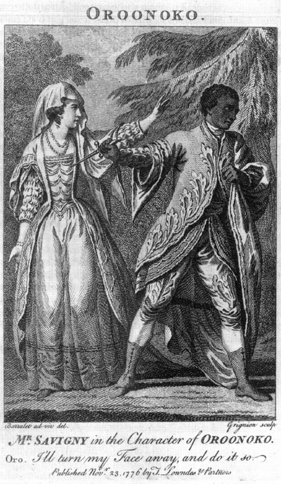 <b>Oroonoko, 1776</b>     	</br>Handout from a performance of Oroonoko, 1776</br><br/><b>Source: </b><i>Mr. Savigny in the Character of Oroonoko, November 23, 1776, Wikimedia Commons, http://commons.wikimedia.org/wiki/File:Southerne_Oroonoko_1776_performance.jpg</i>
