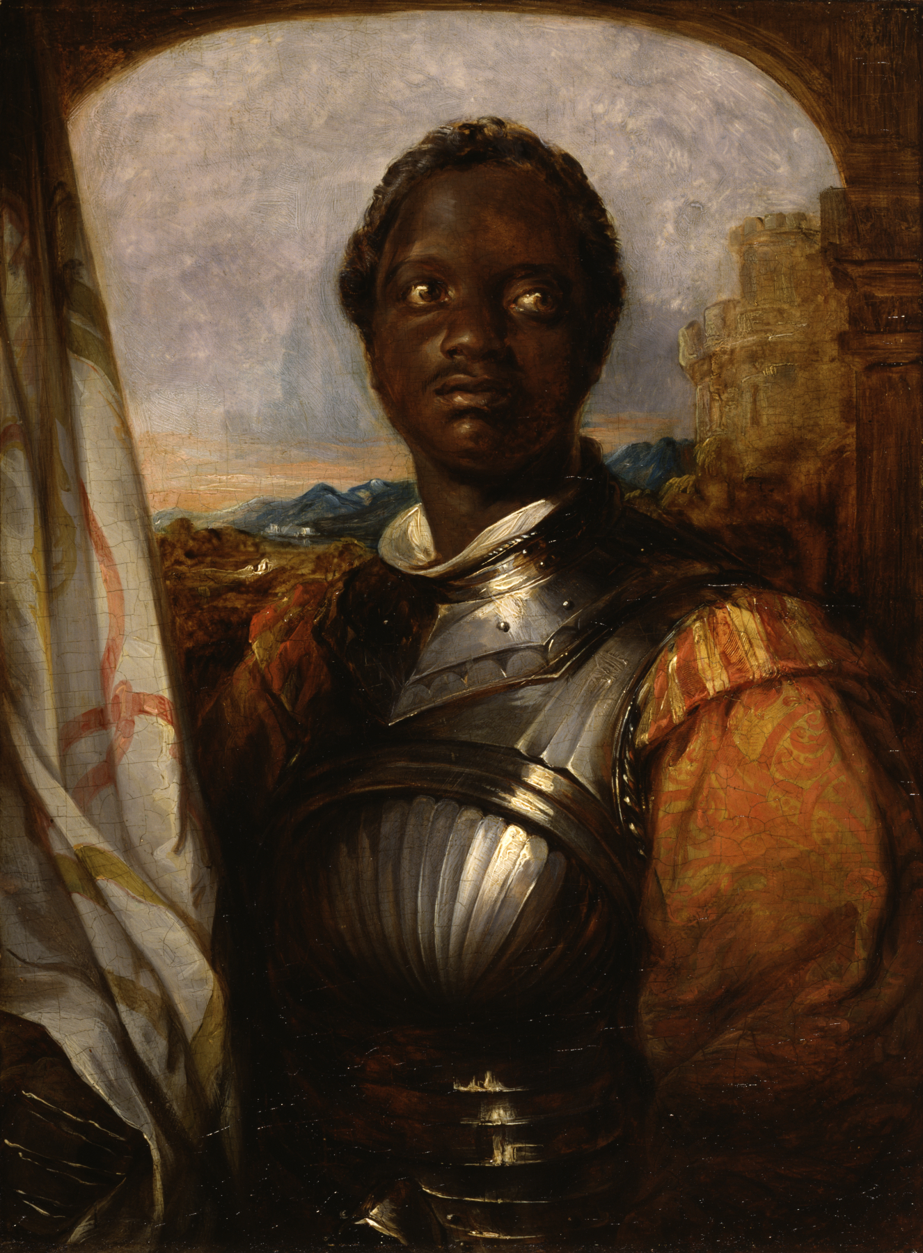 <b>Ira Aldridge</b>     	</br>Oil painting of Ira Aldridge, possibly in the role of Othello, early to mid-19th century</br><br/><b>Source: </b><i>Ira Aldridge, possibly in the role of Othello by William Mulready, owned by the Walters Art Museum, Gift of the Honorable Francis D. Murnaghan, Jr., 1987. Available under a Creative Commons Attribution-Share Alike 3.0 Unported License at http://art.thewalters.org/detail/9022/ira-aldridge-possibly-in-the-role-of-othello/</i>