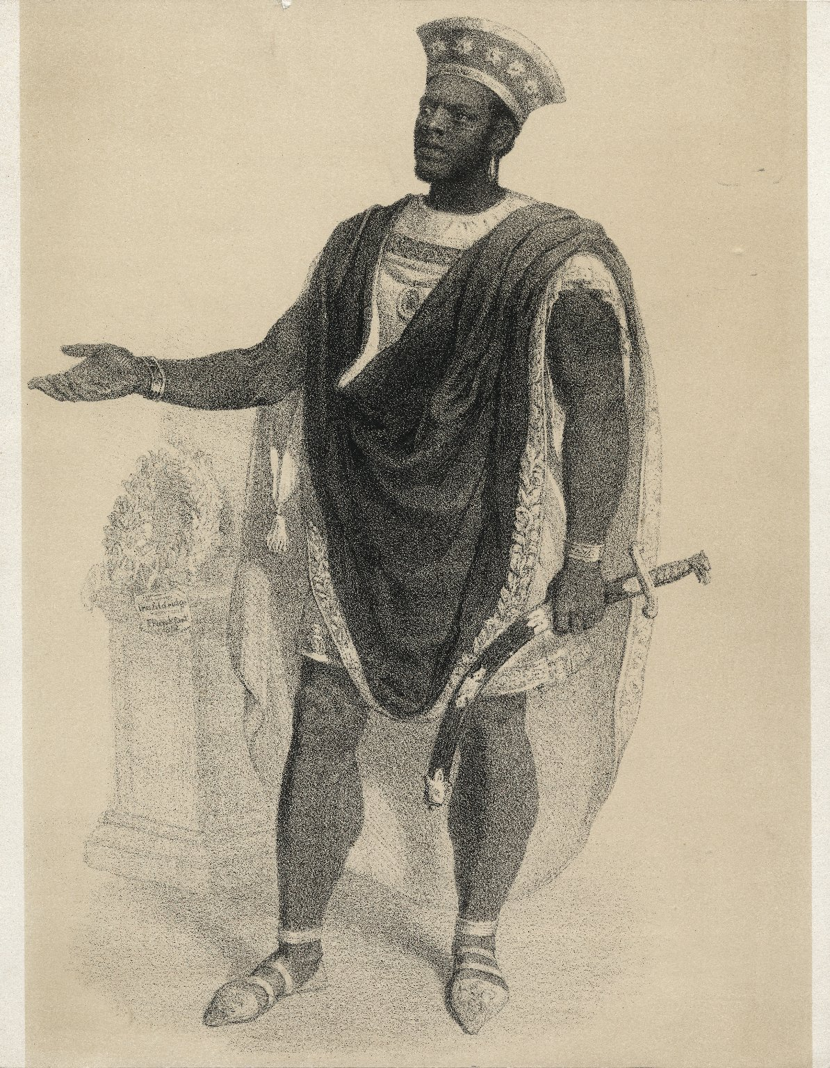 <b>Othello, 1854</b>     	</br>Ira Aldridge as Othello, Germany, 1854</br><br/><b>Source: </b><i>S. Buhler, Ira Aldridge also Othello (Call number: ART File A365.5 no.4), 1854, Folger Digital Image Collection, University of Cincinnati Libraries Digital Collections, University of Cincinnati, http://digproj.libraries.uc.edu:8180/luna/servlet/s/pyj248</i>