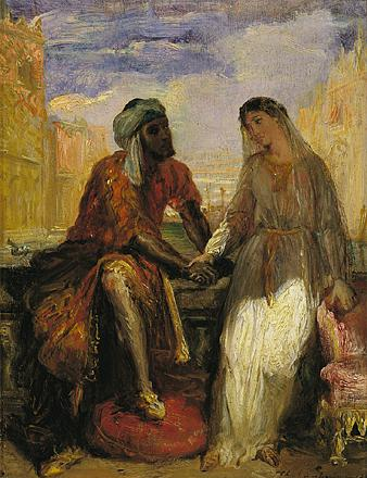 <b>Othello</b>     	</br>A scene with Othello and Desdemona in Venice from Othello, 19th century</br><br/><b>Source: </b><i>Theodore Chasseriau, Othello and Desdemona in Venice, 19th century, Wikipedia, http://en.wikipedia.org/wiki/File:Othellopainting.jpg</i>