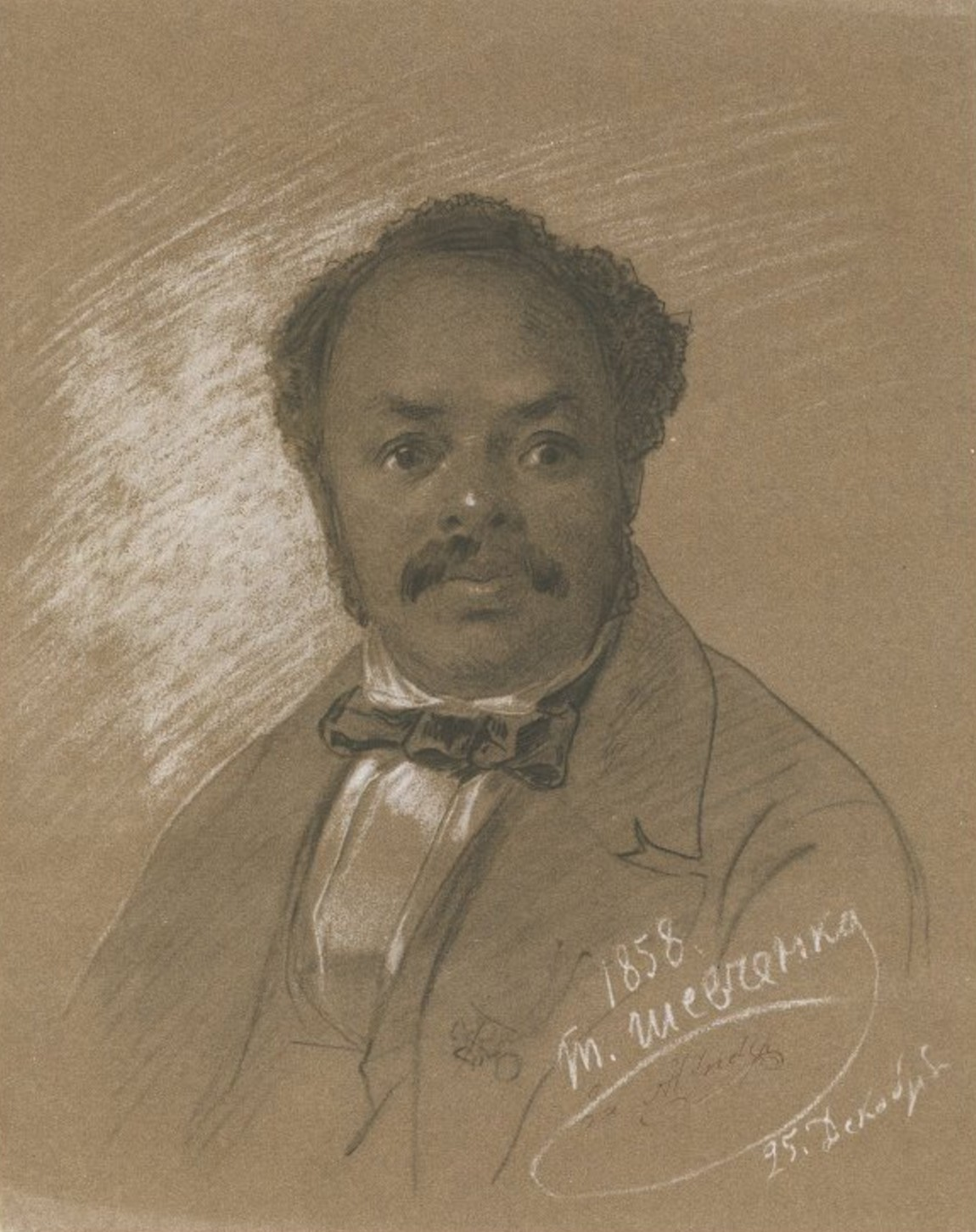 <b>Ira Aldridge, 1858</b>     	</br>Portrait of Ira Aldridge, December 25, 1858</br><br/><b>Source: </b><i>Taras Shevchenko, [Portrait of Ira Frederick Aldridge (1807-1867)], December 25, 1858, Wikipedia, http://en.wikipedia.org/wiki/File:Portrait_of_Ira_Aldridge,_by_Taras_Shevchenko_(1858).jpg</i>
