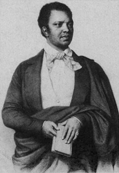 <b>Ira Aldridge</b>     	</br>Portrait of Ira Aldridge</br><br/><b>Source: </b><i>[Portrait of Ira Aldridge] from Anthony D. Hill, An Historical Dictionary of African American Theater (Prevessin, France: Scarecrow Press, 2007), http://www.blackpast.org/aah/aldridge-ira-1807-1867</i>