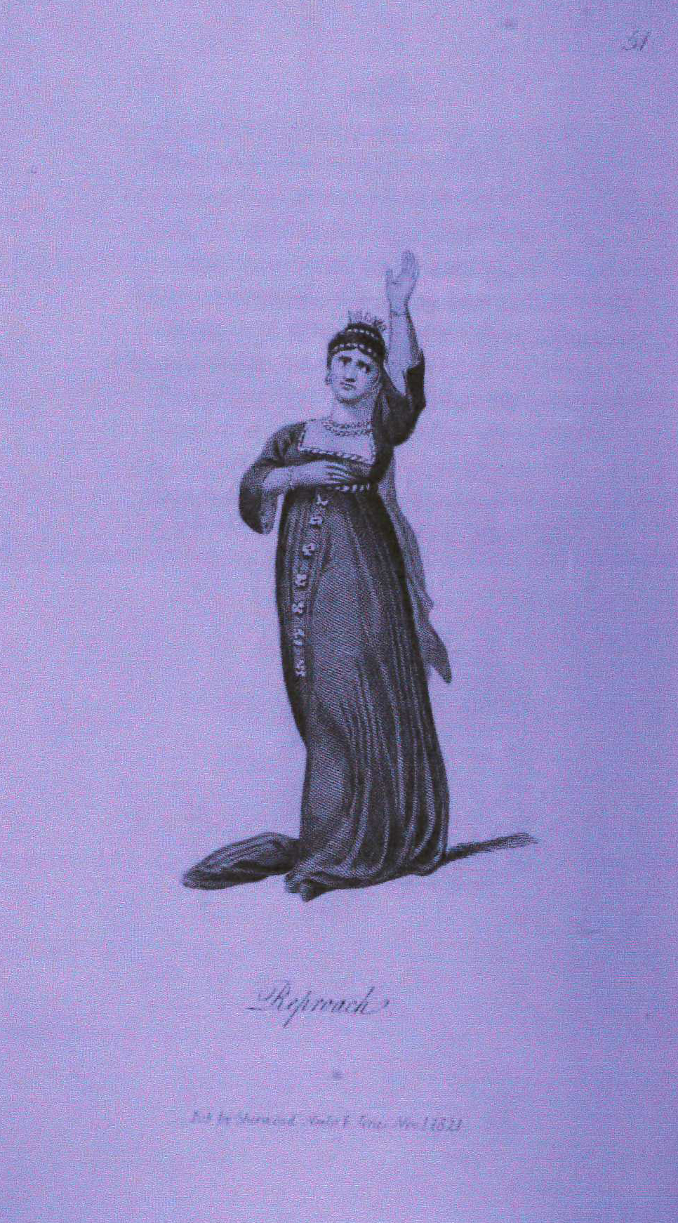 <b>Reproach Gesture</b>     	</br>Developed in the 19th century, systems of rhetorical gestures influenced the acting styles of melodramatic performers. This interpretation of reproach comes from a system of rhetorical gestures and actions that was adapted to the English stage by Henry Siddons.</br><br/><b>Source: </b><i>Reproach in Henry Siddons, Illustrations of Gesture and Action, 2nd ed. (London: Sheerwood, Neely, and Jones, 1822), Plate LI, http://books.google.com/books/about/Practical_Illustrations_of_Rhetorical_Ge.html?id=iSsLAAAAIAAJ</i>