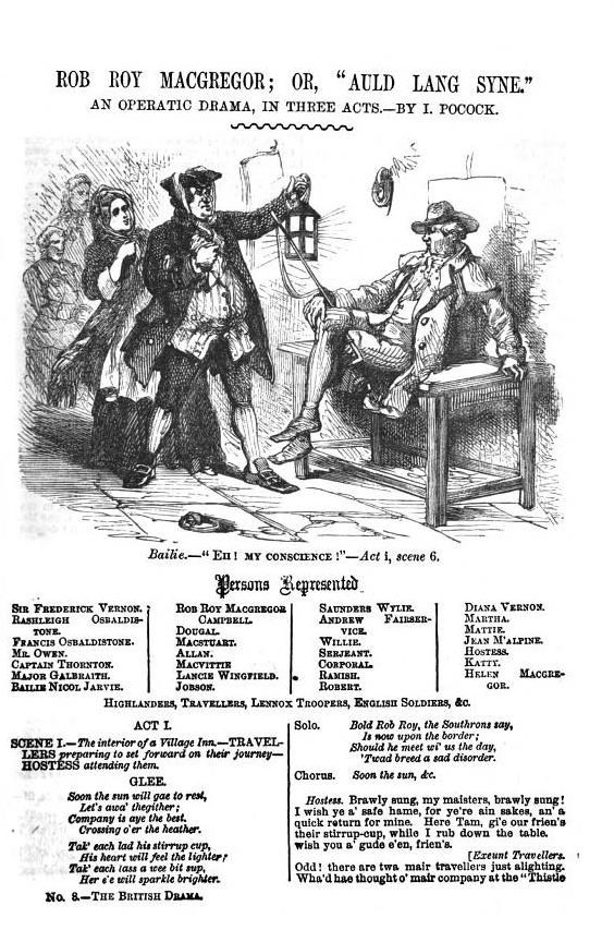 <b>Rob Roy</b>     	</br>Illustrated page of published Rob Roy script, 1869</br><br/><b>Source: </b><i>I. Pocock, Rob Roy Macgregor, Dick&#39;s British Drama, No. 8, Vol. II, (London: John Dicks, 1869),447-466, http://books.google.com/books?id=8lELAAAAYAAJ&amp;pg=PA447#v=onepage&amp;q&amp;f=false</i>