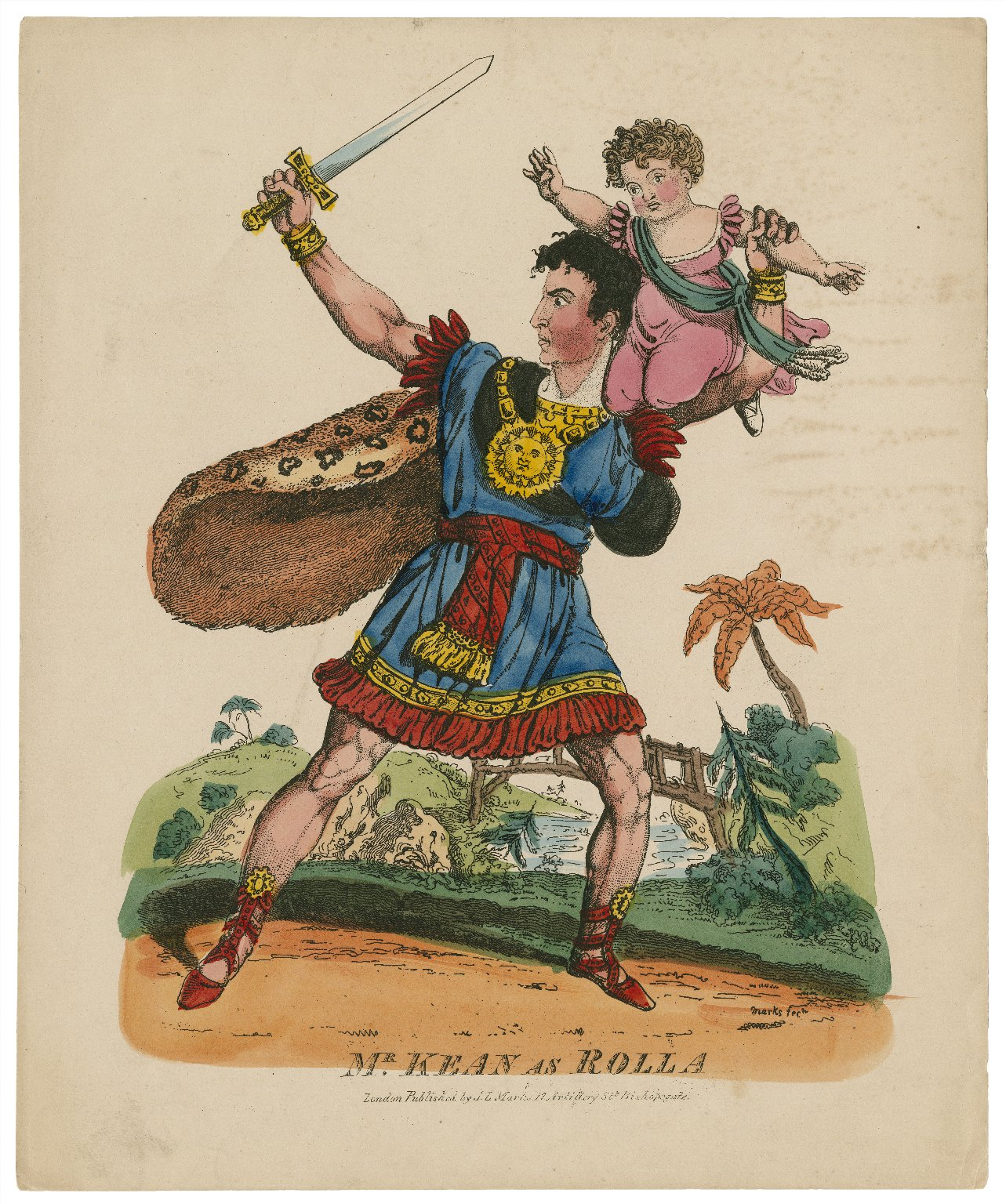 <b>Rolla</b>     	</br>Actor Edmund Kean as Rolla in Pizzaro, 19th century</br><br/><b>Source: </b><i>John Lewis Marks, Mr. Kean as Rolla (Call number: ART File K24.4 no.28), 19th century, Folger Digital Image Collection, University of Cincinnati Libraries Digital Collections, University of Cincinnati, http://digproj.libraries.uc.edu:8180/luna/servlet/s/1qr297</i>