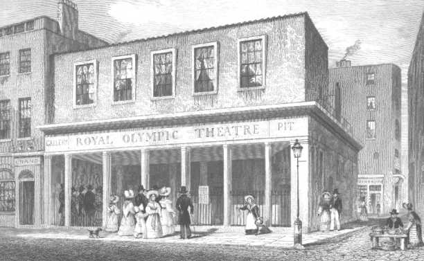 <b>Royal Olympic Theatre, 1831</b>     	</br>The Royal Olympic Theatre, Newcastle Street, London, 1831</br><br/><b>Source: </b><i>Thomas H. Shepard, [Royal Olypmic Theatre], February 1831, Wikimedia Commons, http://commons.wikimedia.org/wiki/File:1831_Royal_Olympic.jpg</i>