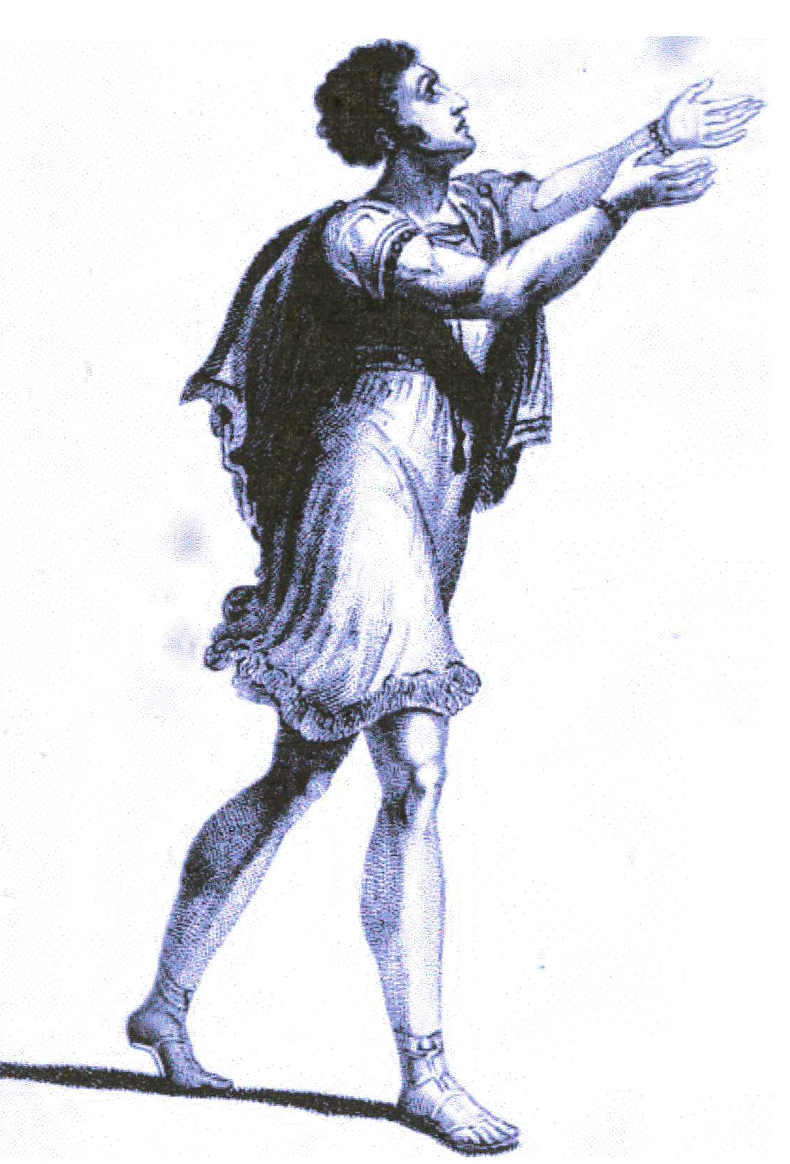 <b>Sublime Adoration Gesture</b>     	</br>Developed in the 19th century, systems of rhetorical gestures influenced the acting styles of melodramatic performers. This interpretation of sublime adoration comes from a system of rhetorical gestures and actions that was adapted to the English stage by Henry Siddons.</br><br/><b>Source: </b><i>Sublime Adoration in Henry Siddons, Illustrations of Gesture and Action, 2nd ed. (London: Sheerwood, Neely, and Jones, 1822), Plate LXV, http://books.google.com/books/about/Practical_Illustrations_of_Rhetorical_Ge.html?id=iSsLAAAAIAAJ</i>