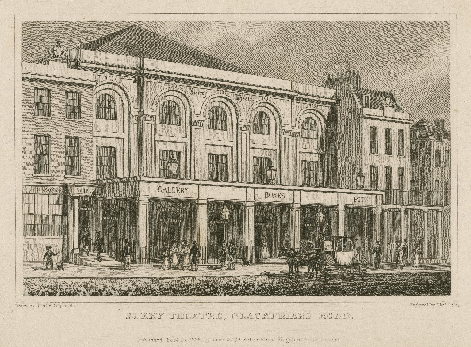 <b>Surrey Theatre, 1828</b>     	</br>Surrey Theatre, Blackfriars Road, London, 1828</br><br/><b>Source: </b><i>Thomas H. Shepard, Surry Theatre, Blackfriars Road (Call number: ART File L847t1 S2 no.1), 1828, Folger Digital Image Collection, University of Cincinnati Libraries Digital Collections, University of Cincinnati, http://digproj.libraries.uc.edu:8180/luna/servlet/s/v1k918</i>