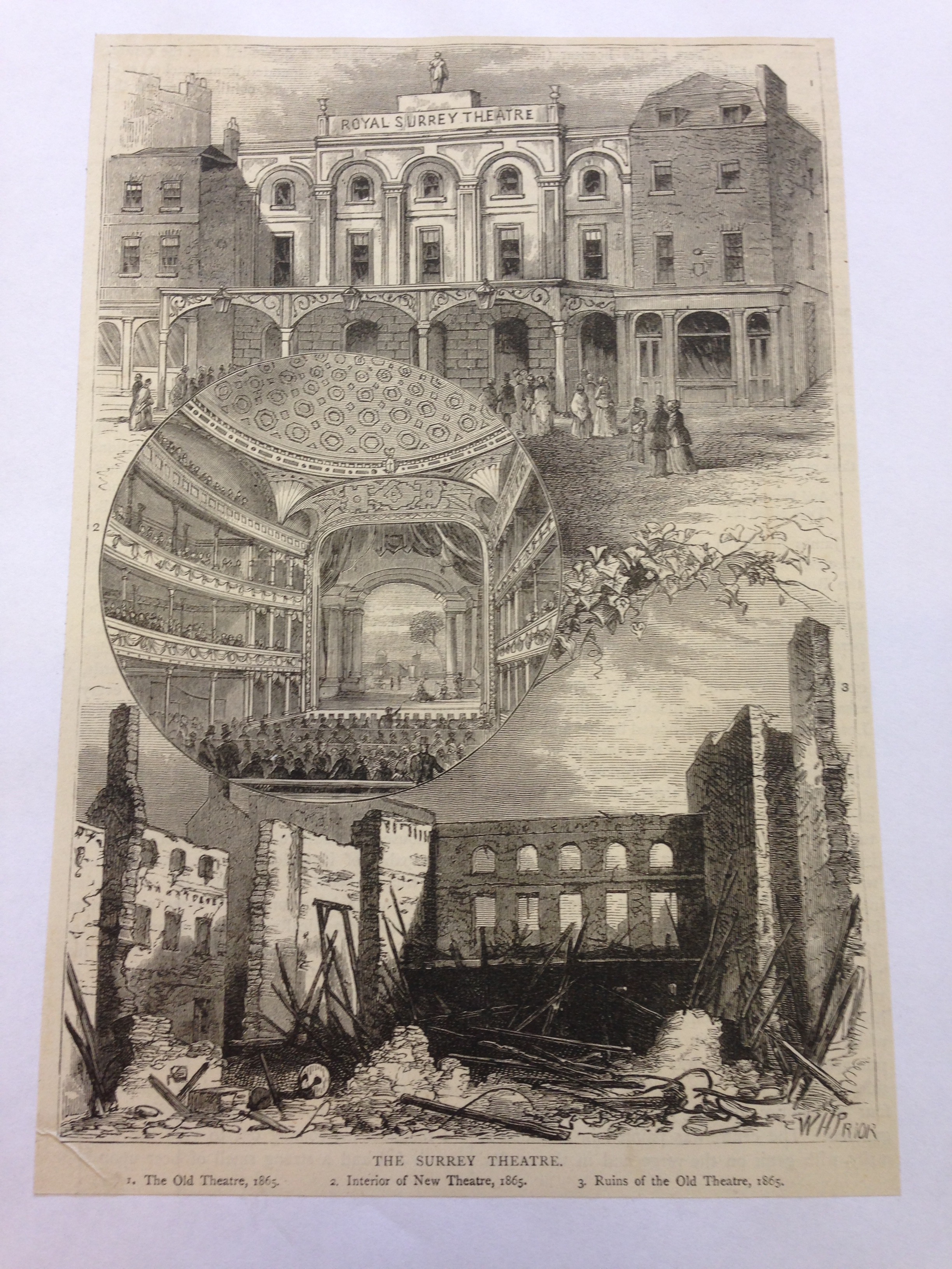 <b>Surrey Theatre</b>     	</br>An illustration of the destruction and reconstruction of the Surrey Theatre, London, 1865.</br><br/><b>Source: </b><i>Used with permission from the University of Bristol Theatre Collection.</i>