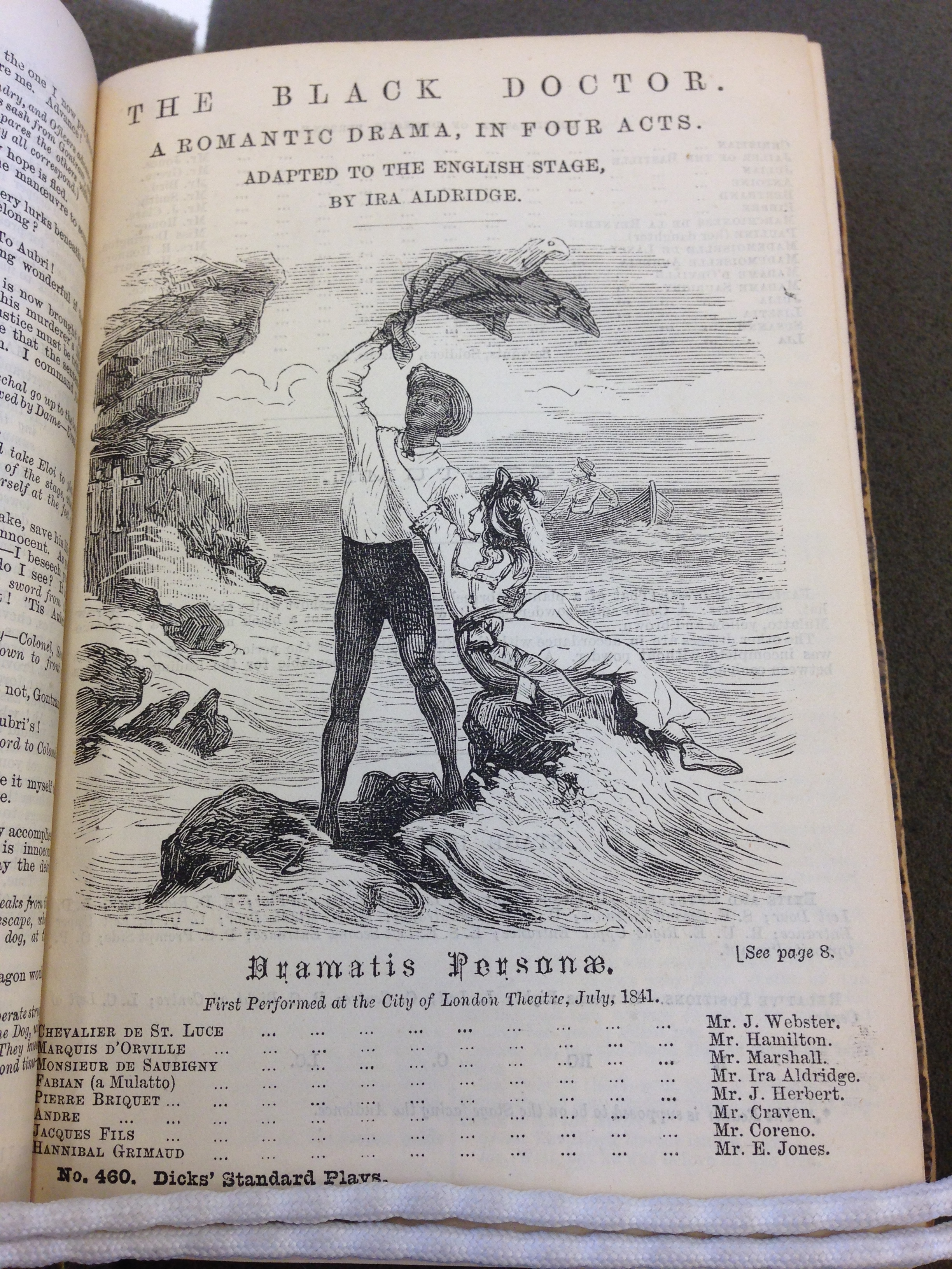 <b>The Black Doctor</b>     	</br>Illustrated page of Ira Aldridge&#39;s adaptation of The Black Doctor</br><br/><b>Source: </b><i>The Black Doctor, Dicks&#39; Standard Plays, No. 460 (London: John Dicks, n.d.). Reproduced by permission of the Hatcher Special Collections Library, University of Michigan, Ann Arbor, MI.</i>