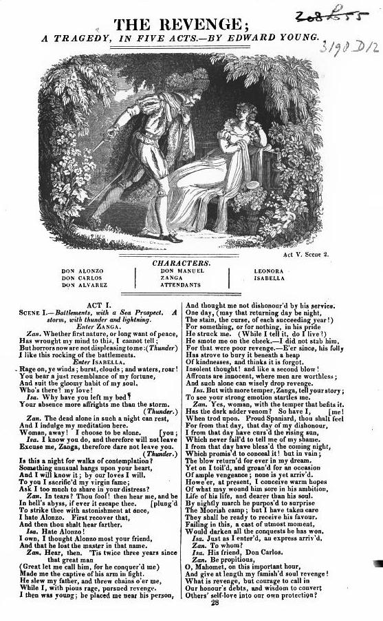 <b>The Revenge</b>     	</br>Illustrated page of published The Revenge script, 1825</br><br/><b>Source: </b><i>Edward Young, The Revenge: A Tragedy in Five Acts, (1825), http://books.google.com/books?id=Vi1TAAAAcAAJ&amp;dq=the+revenge+zanga&amp;source=gbs_navlinks_s</i>