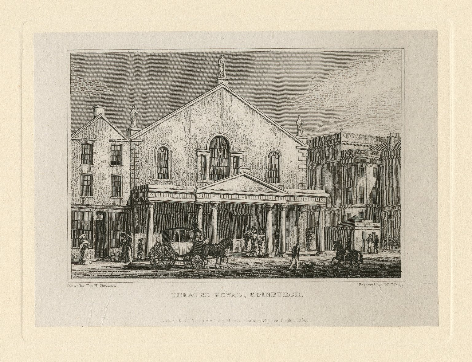 <b>Theatre Royal, Edinburg, 1830</b>     	</br>Exterior of the Theatre Royal, Edinburg, England, 1830</br><br/><b>Source: </b><i>William Wallis, Theatre Royal, Edinburgh (Call number: ART File E23.7 no.1), 1830, Folger Digital Image Collection, University of Cincinnati Libraries Digital Collections, University of Cincinnati, http://digproj.libraries.uc.edu:8180/luna/servlet/s/bojoj4</i>