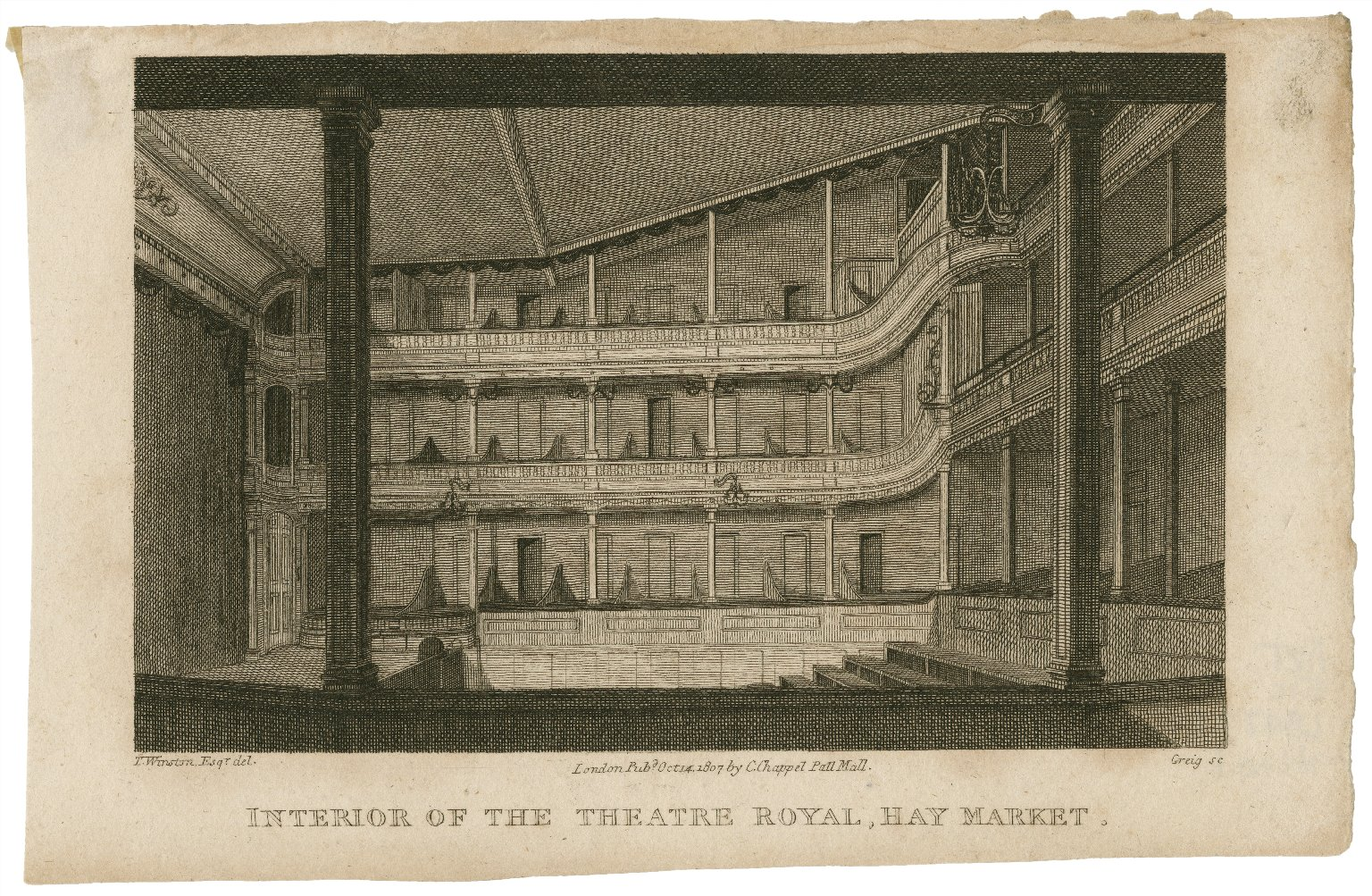 <b>Theatre Royal, Haymarket, 1807</b>     	</br>Interior of the Theatre Royal, Haymarket, London, 1807</br><br/><b>Source: </b><i>John Greig, Interior of the Theatre Royal, Haymarket (Call number: ART File L847t1 H1 no.1), 1807, Folger Digital Image Collection, University of Cincinnati Libraries Digital Collections, University of Cincinnati, http://digproj.libraries.uc.edu:8180/luna/servlet/s/7i54x2</i>
